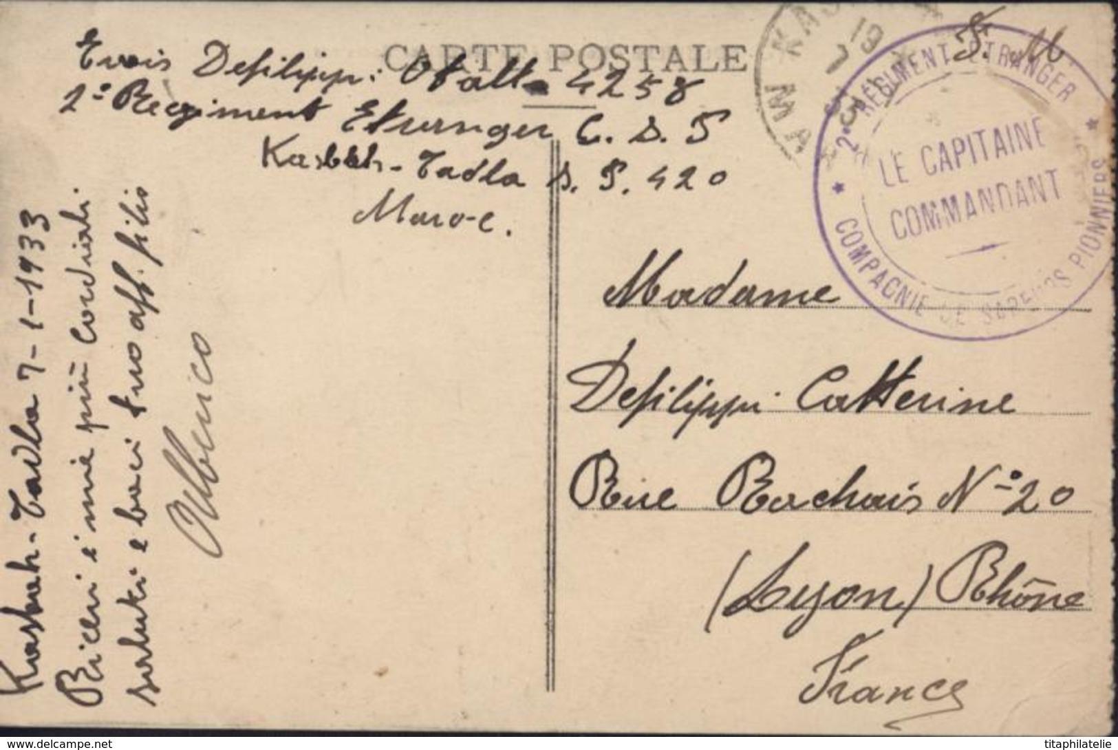 Légion étrangère Cachet 2ème Régiment étranger Cie Sapeurs Pionniers SP 420 Maroc FM Ecrite Italien 1933 CPA Volubilis - Covers & Documents