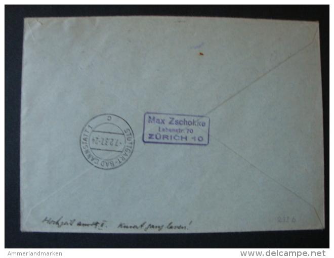 Schweiz, Luftpostbrief  Einschreiben Mi-Nr. 291 + 293b Zürich-Bad Cannstadt 1937 - Oblitérés