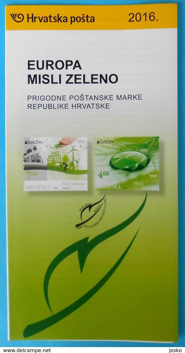 EUROPA - THINKING GREEN ... Croatie Post Stamp Prospectus * Environmental Protection De L'environnement Umweltschutz - Umweltschutz Und Klima