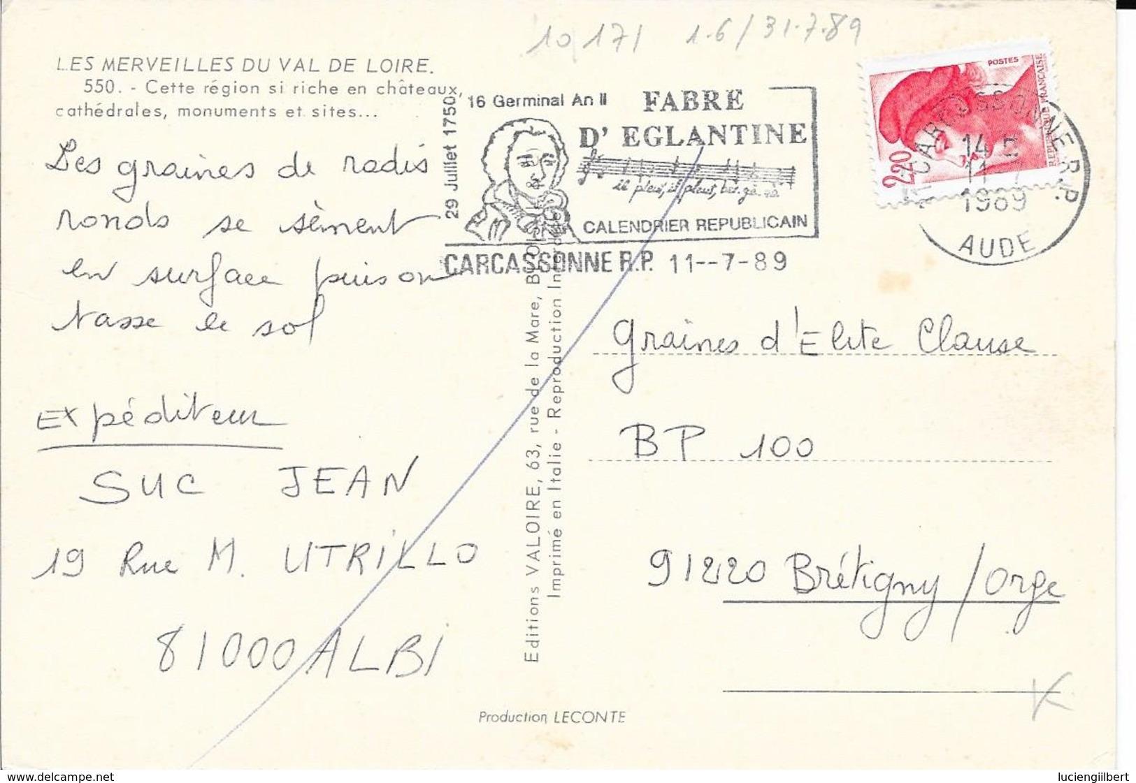 AUDE 11  - CARCASSONNE  -  FLAMME N° 1871  - VOIR DESCRIPTION  -  1989 -  THEME ANNIVERSAIRE - Marcophilie (Lettres)