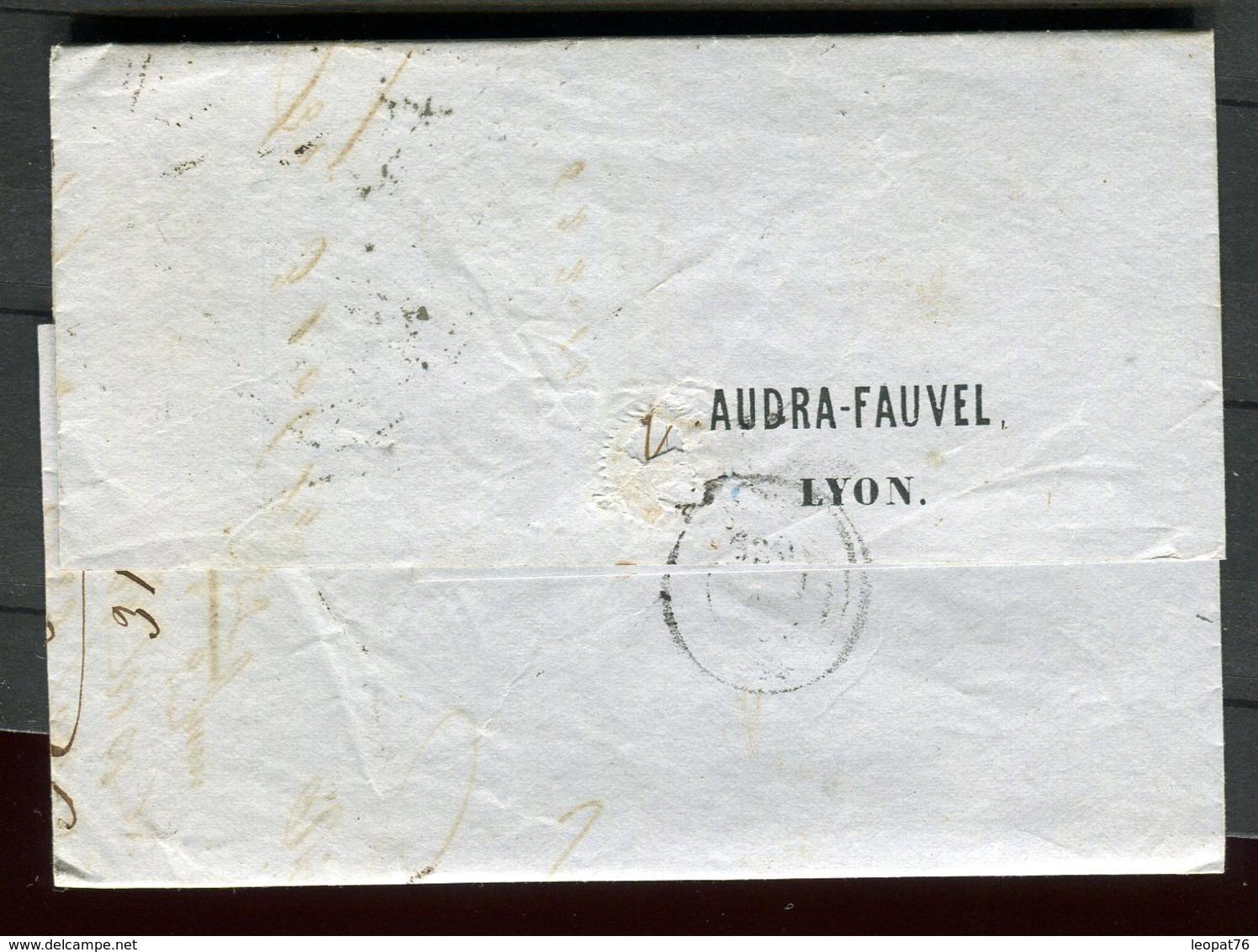 Lettre Avec Texte Commerciale ( Scan Intérieur Sur Demande) De Lyon Pour Crest En 1855 - 1849-1876: Période Classique