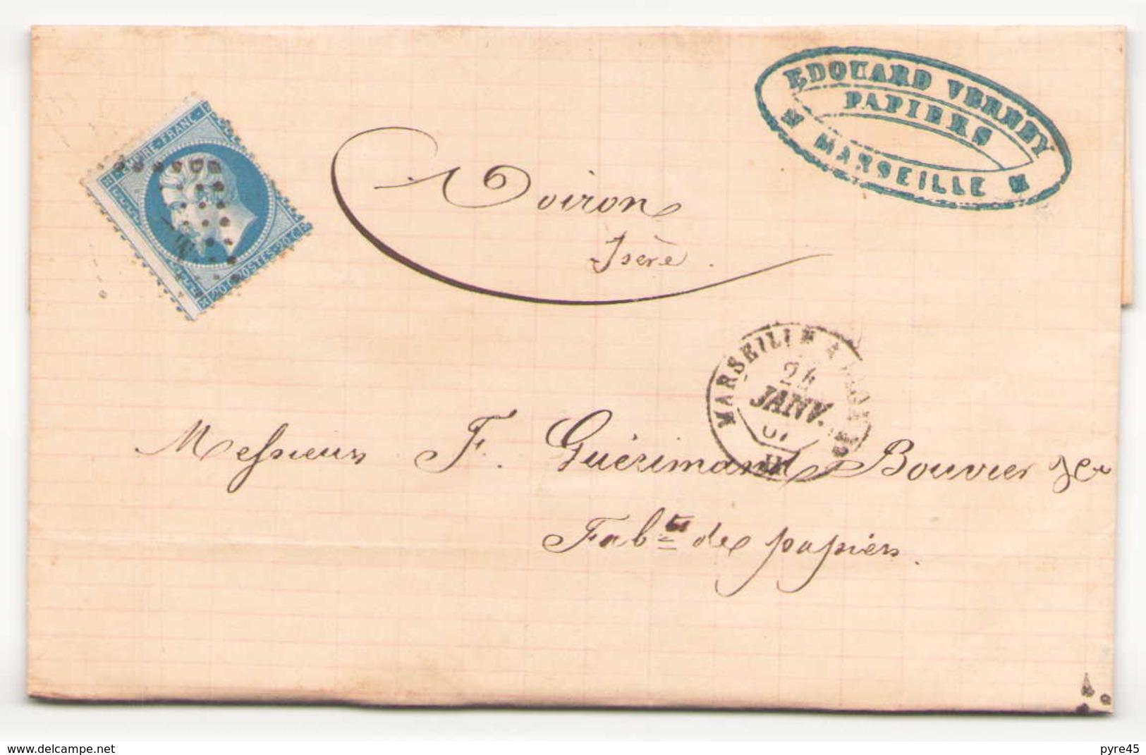 Enveloppe Du 24 Janvier 1867 ?? De Marseille Pour Voiron - 1863-1870 Napoléon III Lauré