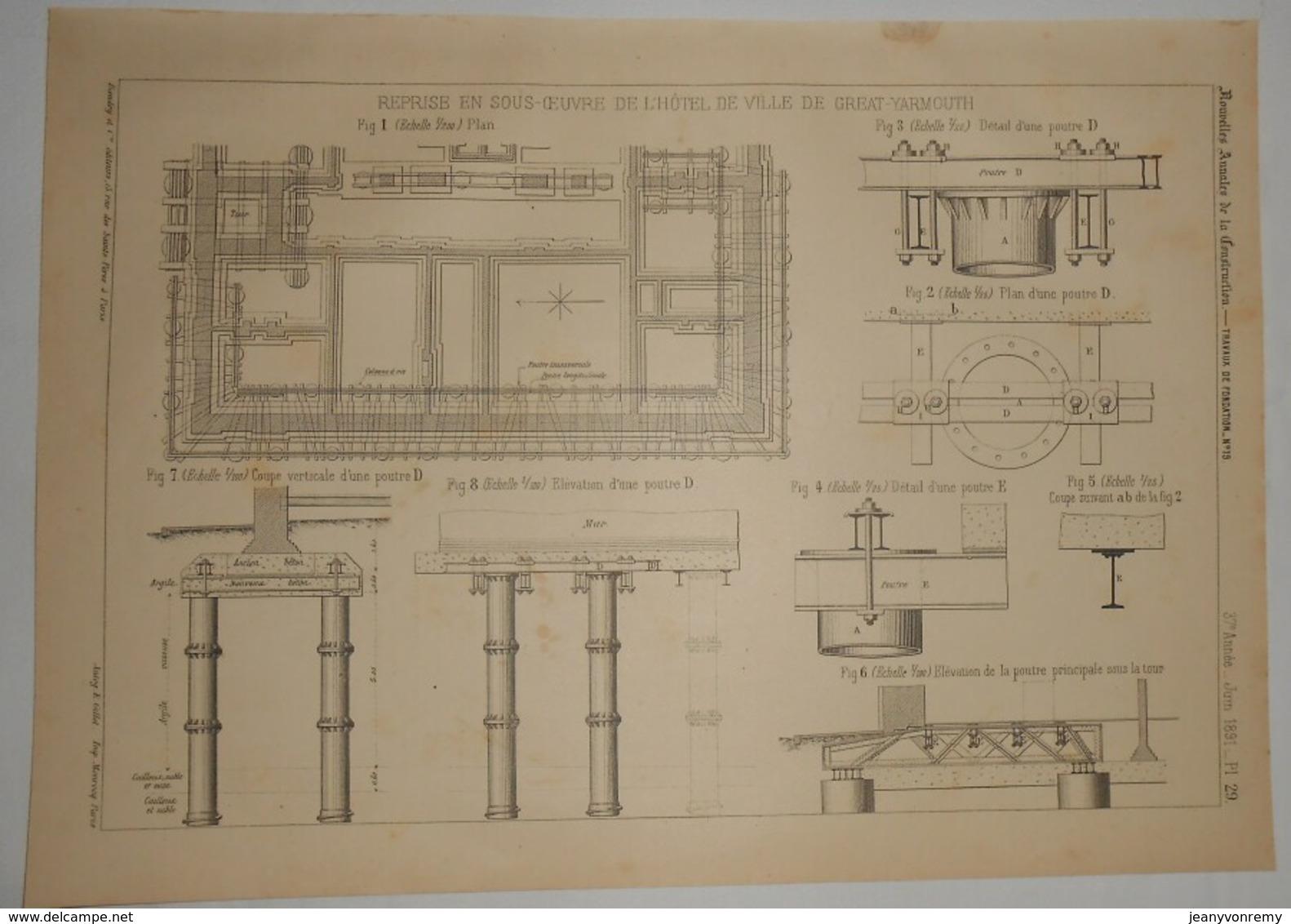 Plan De L'Hôtel De Ville De Great Yarmouth. Angleterre. 1891. - Travaux Publics