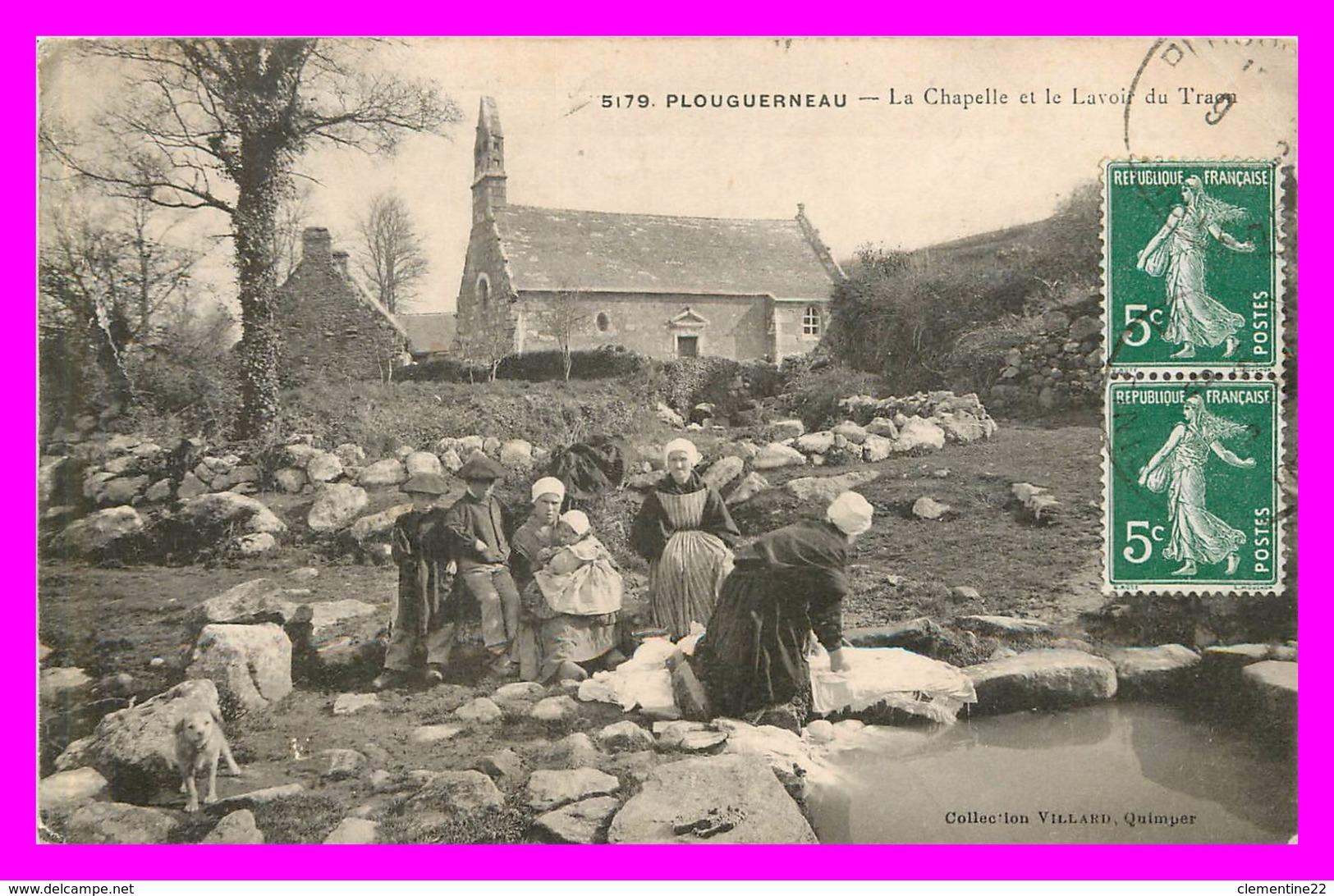 Plouguerneau , La Chapelle Et Le Lavoir   ( Scan Recto Et Verso ) - Plouguerneau