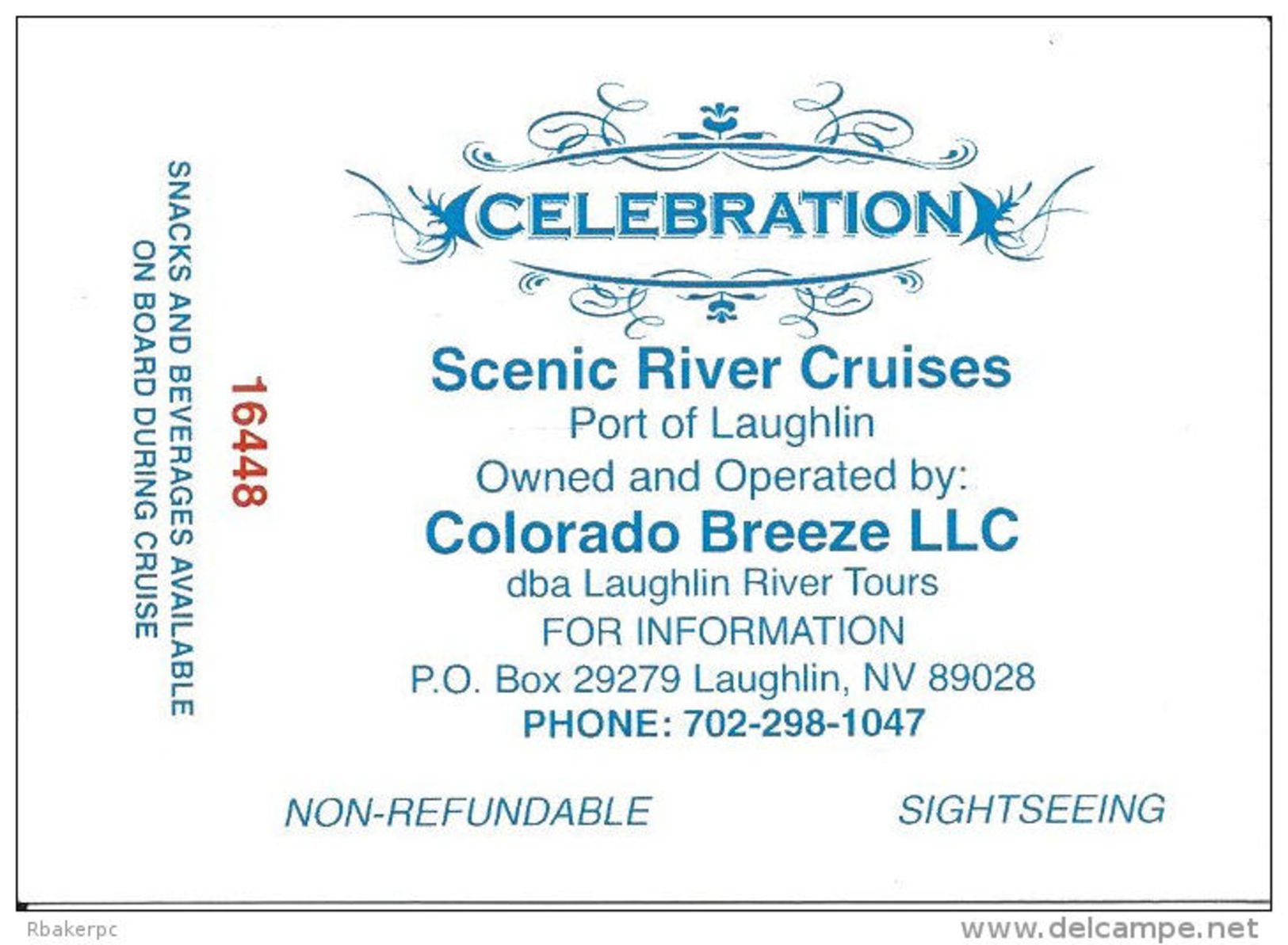 Scenic River Cruises Port Of Laughlin, NV USA - Celebration Cruise Ticket Stubs - Tickets - Vouchers