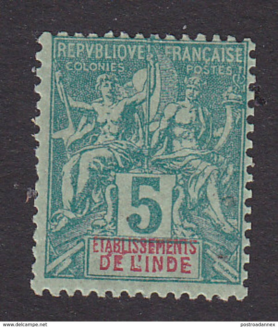 French India, Scott #4, Mint Hinged, Navigation And Commerce, Issued 1892 - India (1892-1954)