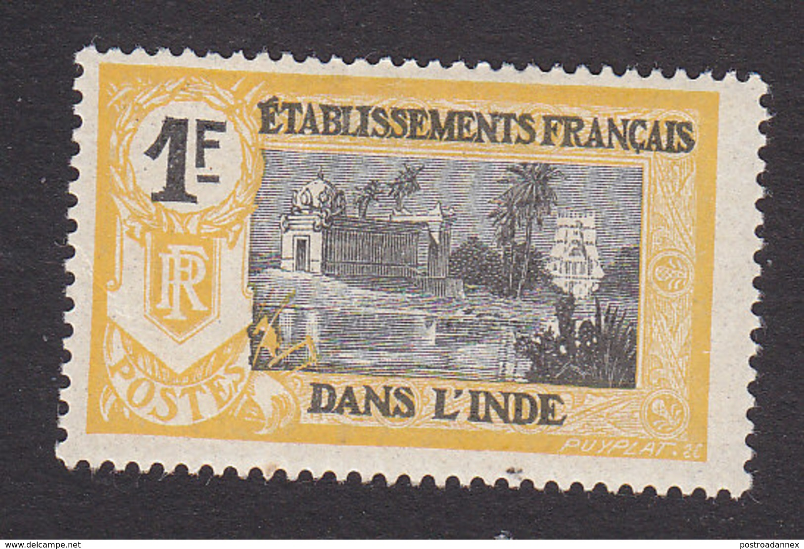 French India, Scott #46, Mint Hinged, Kali Temple, Issued 1914 - India (1892-1954)
