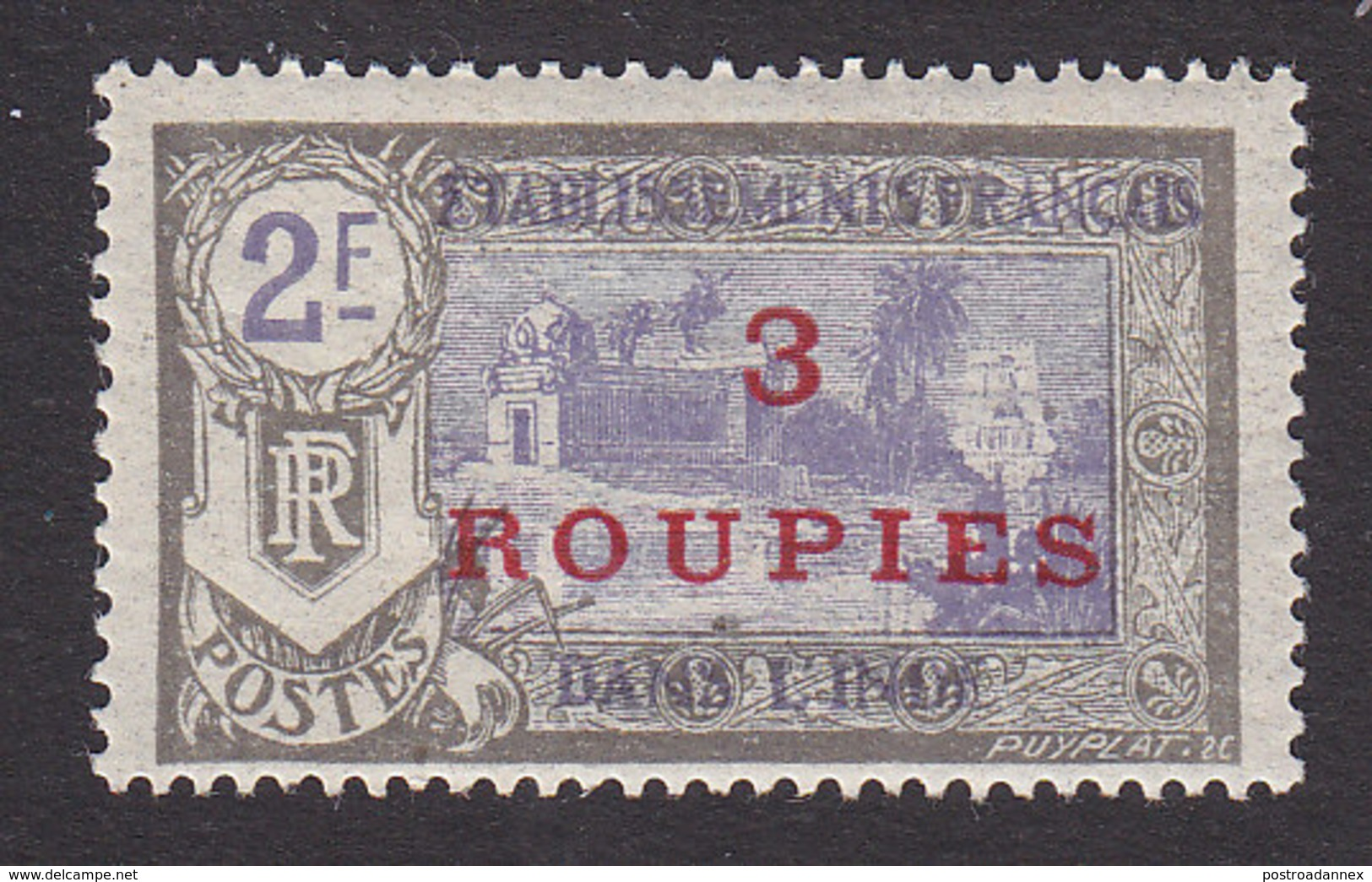 French India, Scott #78, Mint Hinged, Kali Temple Surcharged, Issued 1923 - India (1892-1954)