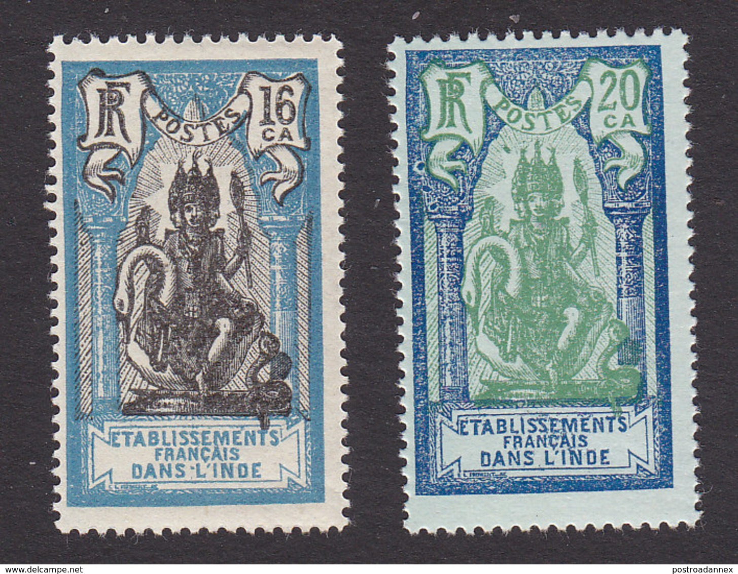 French India, Scott #87, 89, Mint Hinged, Brahma, Issued 1929 - India (1892-1954)