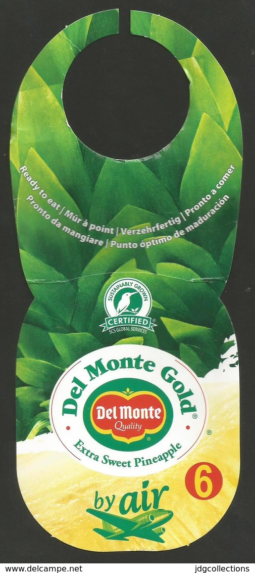 # PINEAPPLE DEL MONTE GOLD Size 6 BY AIR-LARGE Fruit Tag Balise Etiqueta Anhanger Ananas Pina Costa Rica Airplane Avion - Fruits & Vegetables