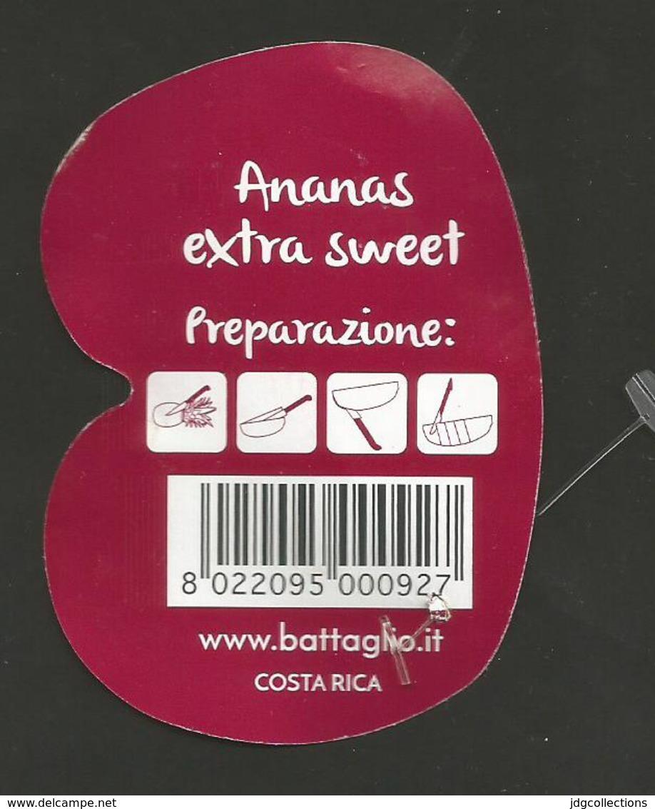 # PINEAPPLE BATTAGLIO EXTRA SWEET Fruit Tag Balise Etiqueta Anhanger Ananas Pina Costa Rica - Fruits & Vegetables