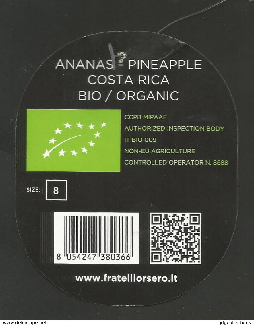 # PINEAPPLE ORSERO BIO ORGANIC Fruit Tag Balise Etiqueta Anhanger Ananas Pina Costa Rica - Fruits & Vegetables