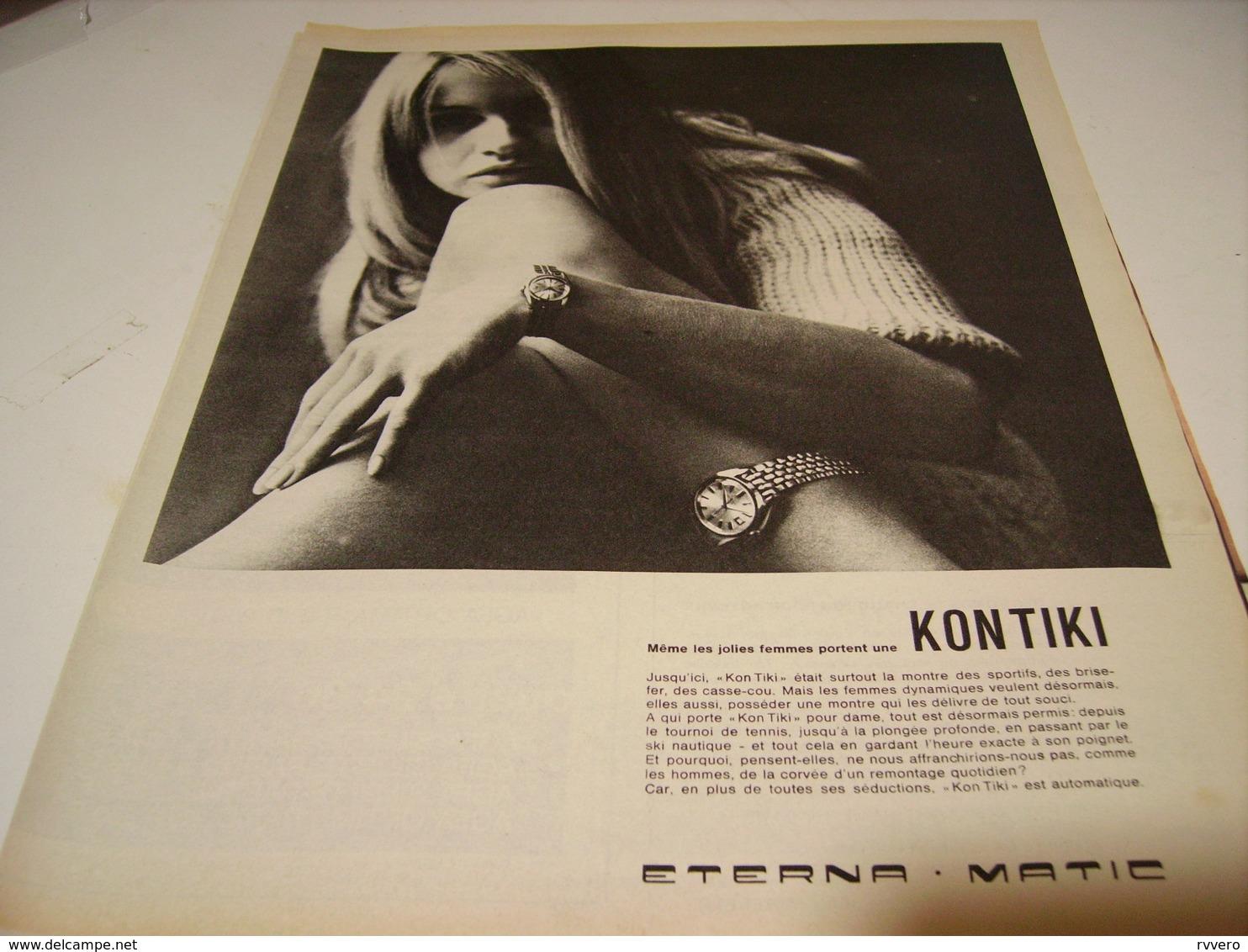 ANCIENNE PUBLICITE MONTRE KONTIKI ETERNA MATIC 1966 - Autres