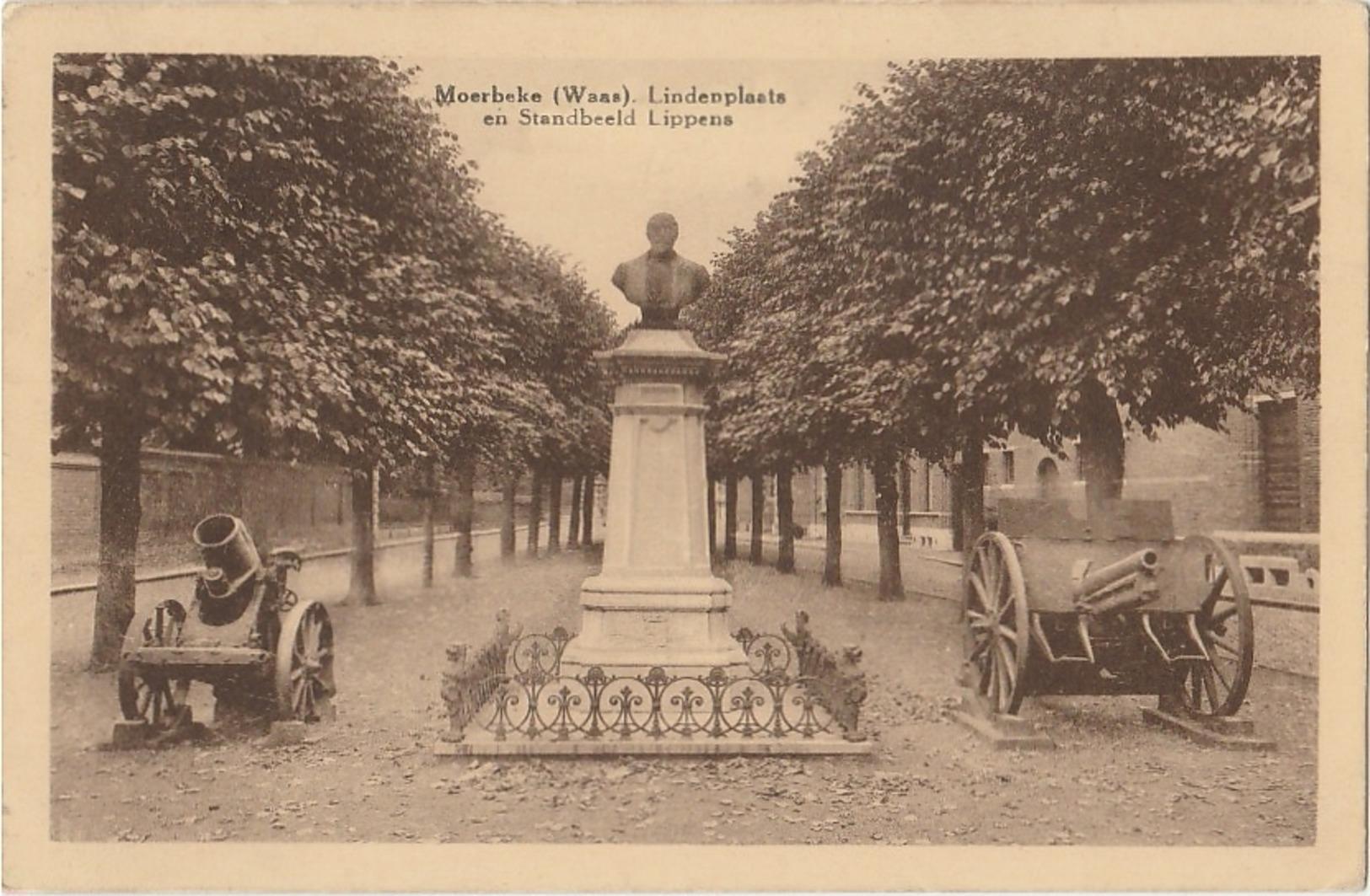 MOERBEKE WAAS Lindenplaats En Standbeeld Lippens - Moerbeke-Waas