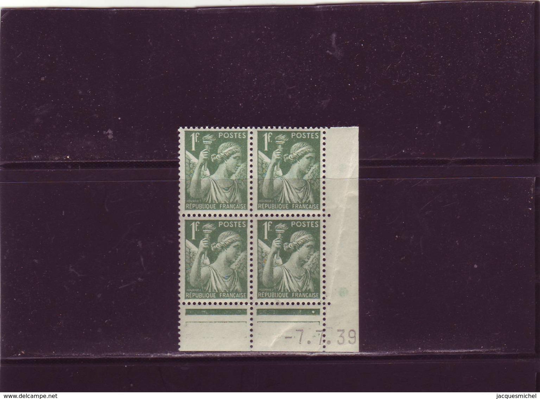 N° 432 - 1,00F IRIS - B De A+B - 1° Tirage/1° Partie Du 8.5.39 Au 21.7.39 - 7.7.1939 - - Dated Corners