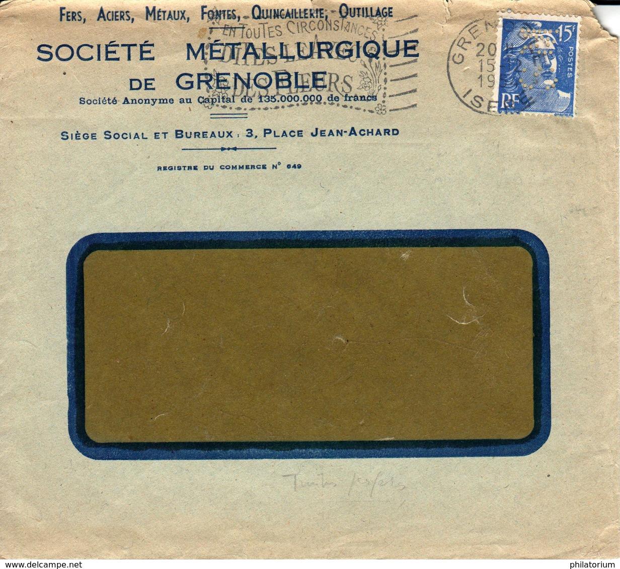 France Société Métallurgique De Grenoble 15 12 1954 Perforé SM Sur Gandon (perfin) - France