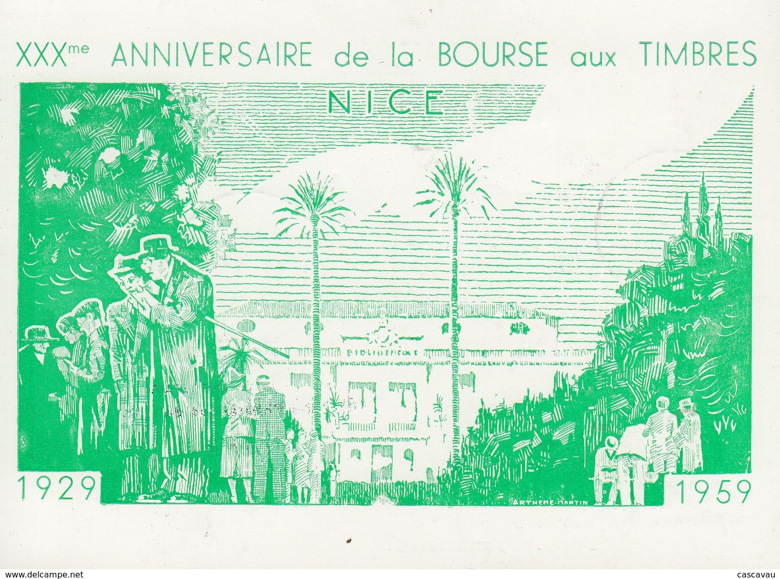 Carte   FRANCE   30éme  Anniversaire  De  La  BOURSE  AUX  TIMBRES     NICE     1959 - Postmark Collection (Covers)