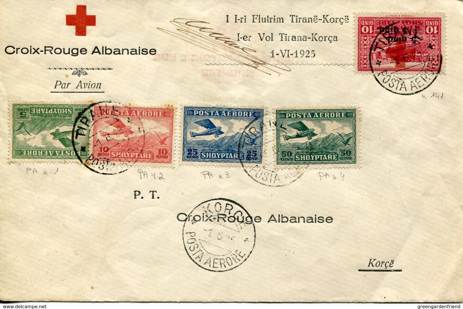 37050 Albania, Croix Rouge 1er Vol Tirana Korca 1-VI-1925 Posta Aerore (see 2 Scans) First Flight 1925 - Albanie