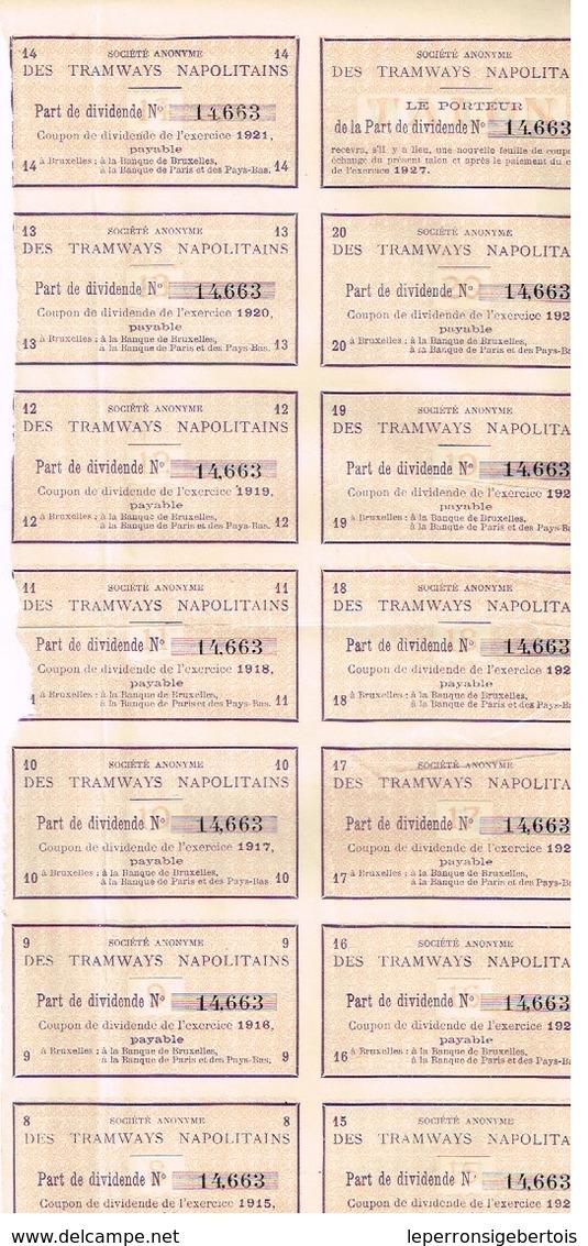 Action Ancienne - Sté Anonyme Des Tramways Napolitains - Titre De 1908 - N° 14663 - Chemin De Fer & Tramway