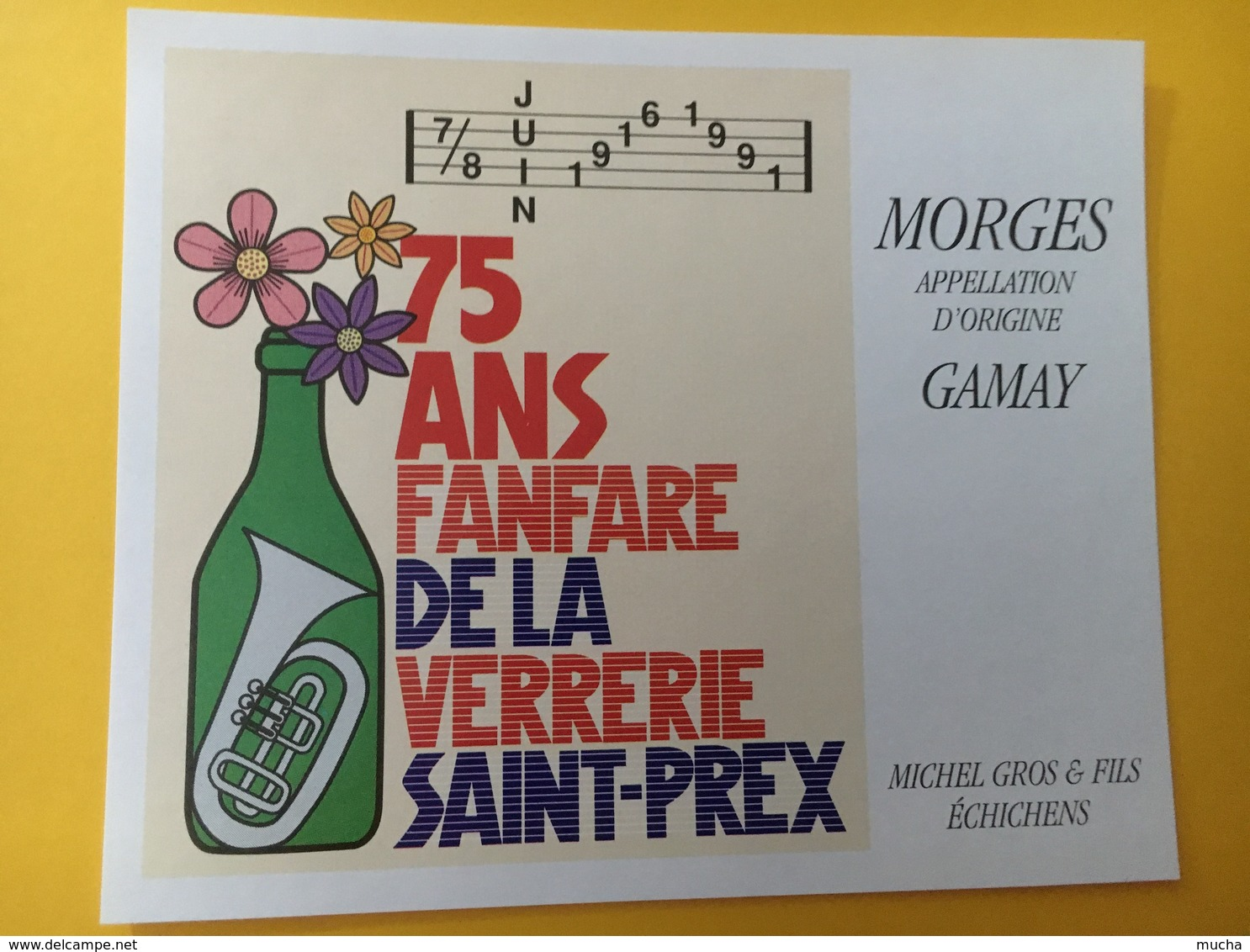 8738 - 75 Ans Fanfare De La Verrerie Saint-Prex 1916-1991 Suisse 2 étiquettes - Musique