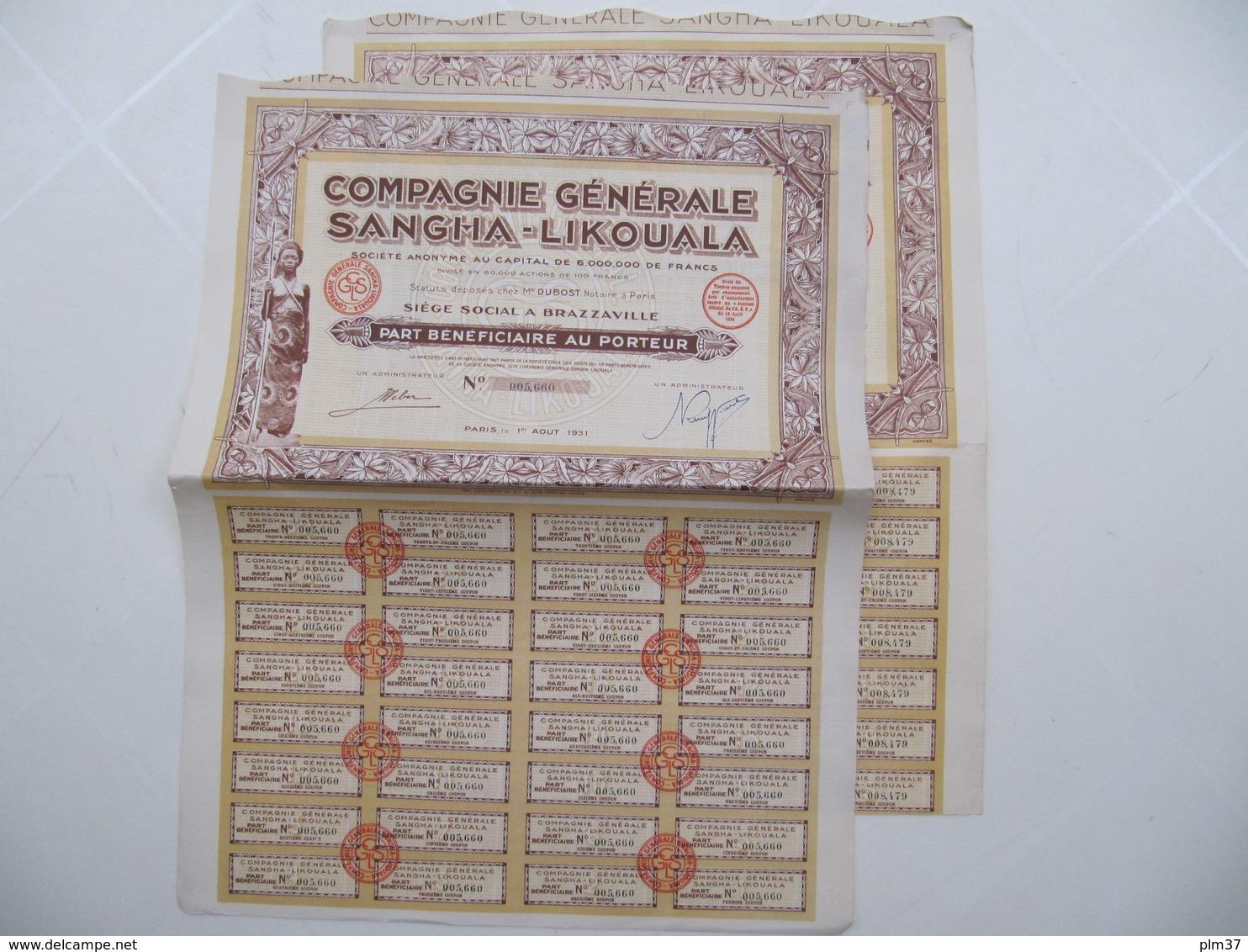 2 X Actions - Compagnie Générale Sangha-Likouala - Brazzaville-Paris 1931 - Afrique