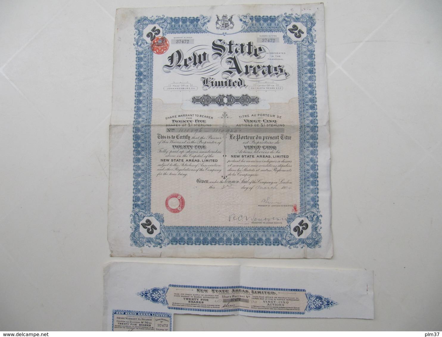 1 X Action - New State Areas Limited - London, 1934 - Afrique