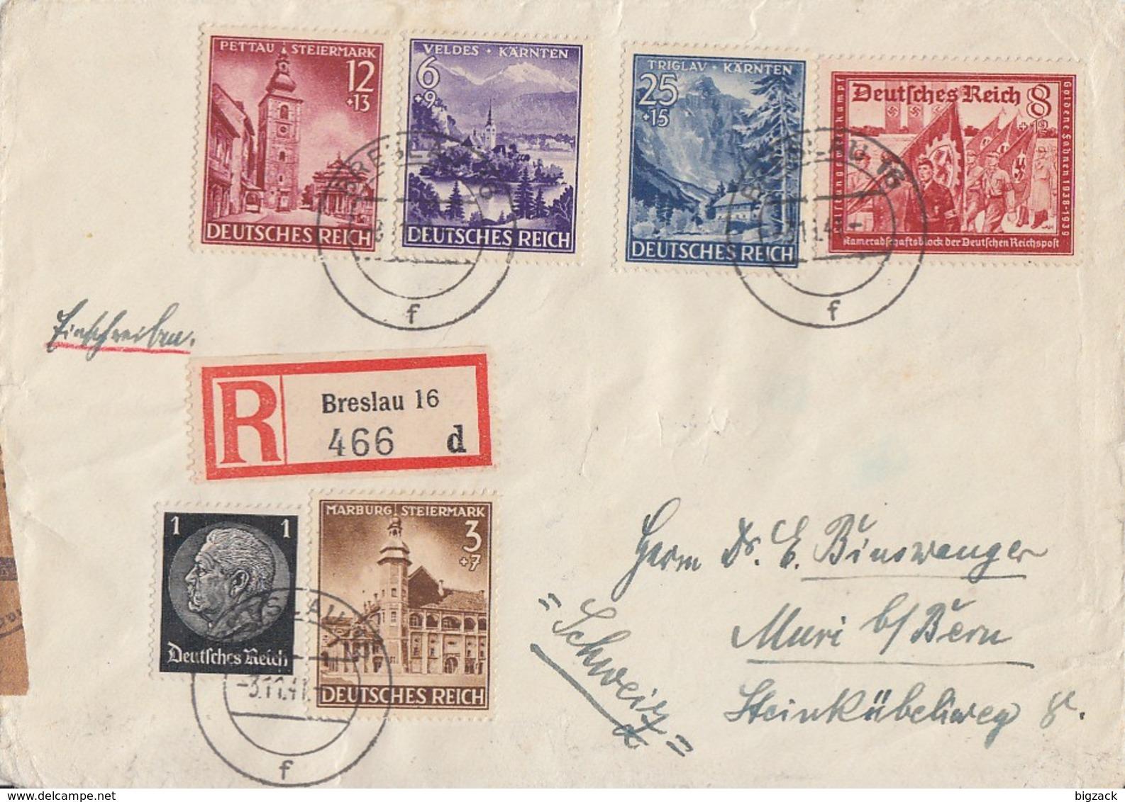 DR R-Brief Mif Minr.512,806-809,774 Breslau 3.11.41 Gel. In Schweiz Zensur - Briefe U. Dokumente
