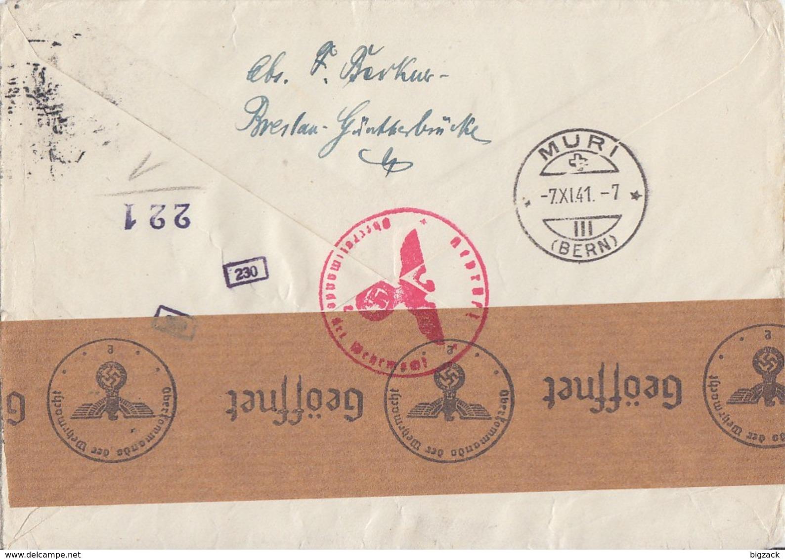 DR R-Brief Mif Minr.512,806-809,774 Breslau 3.11.41 Gel. In Schweiz Zensur - Deutschland
