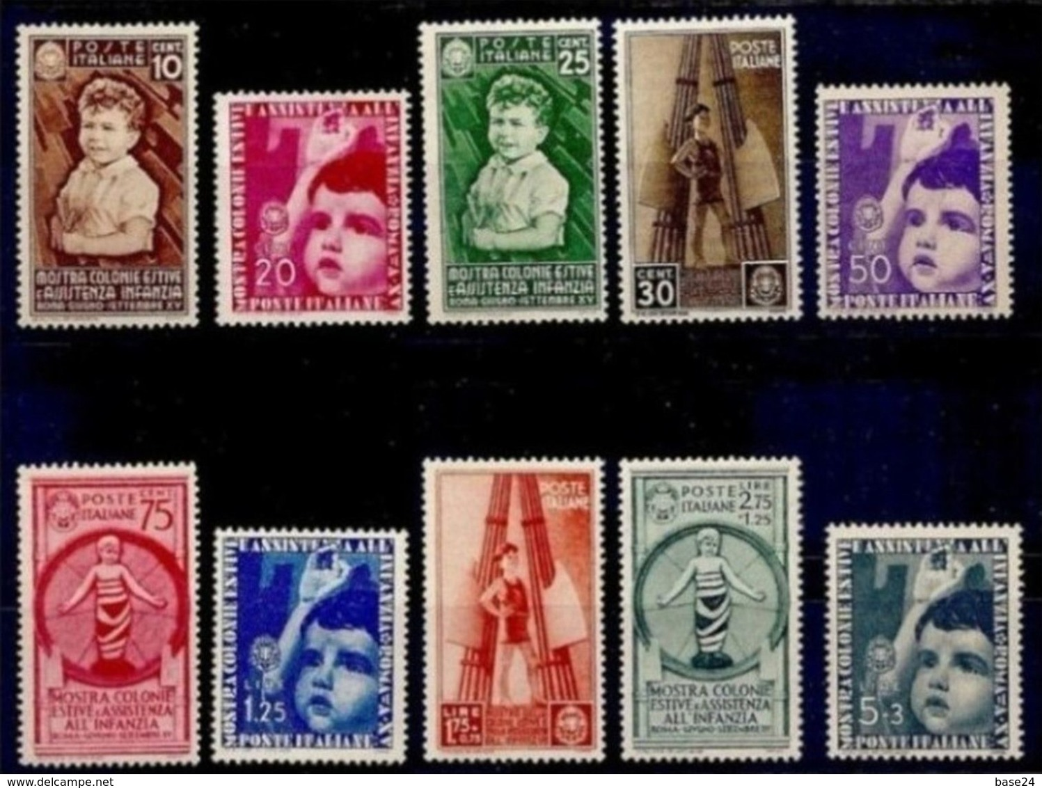1937 Italia Italy Regno COLONIE ESTIVE Serie Di 10v. (N°406/15) MH* - 1900-44 Vittorio Emanuele III