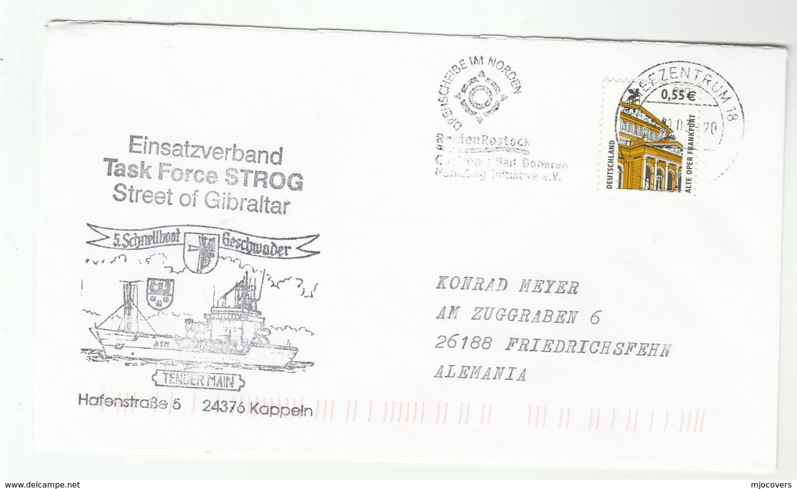 2003 STROG TASKFORCE GIBRALTAR - GERMANY NAVY SHIP Cover Germany Stamps Nato Forces - NATO