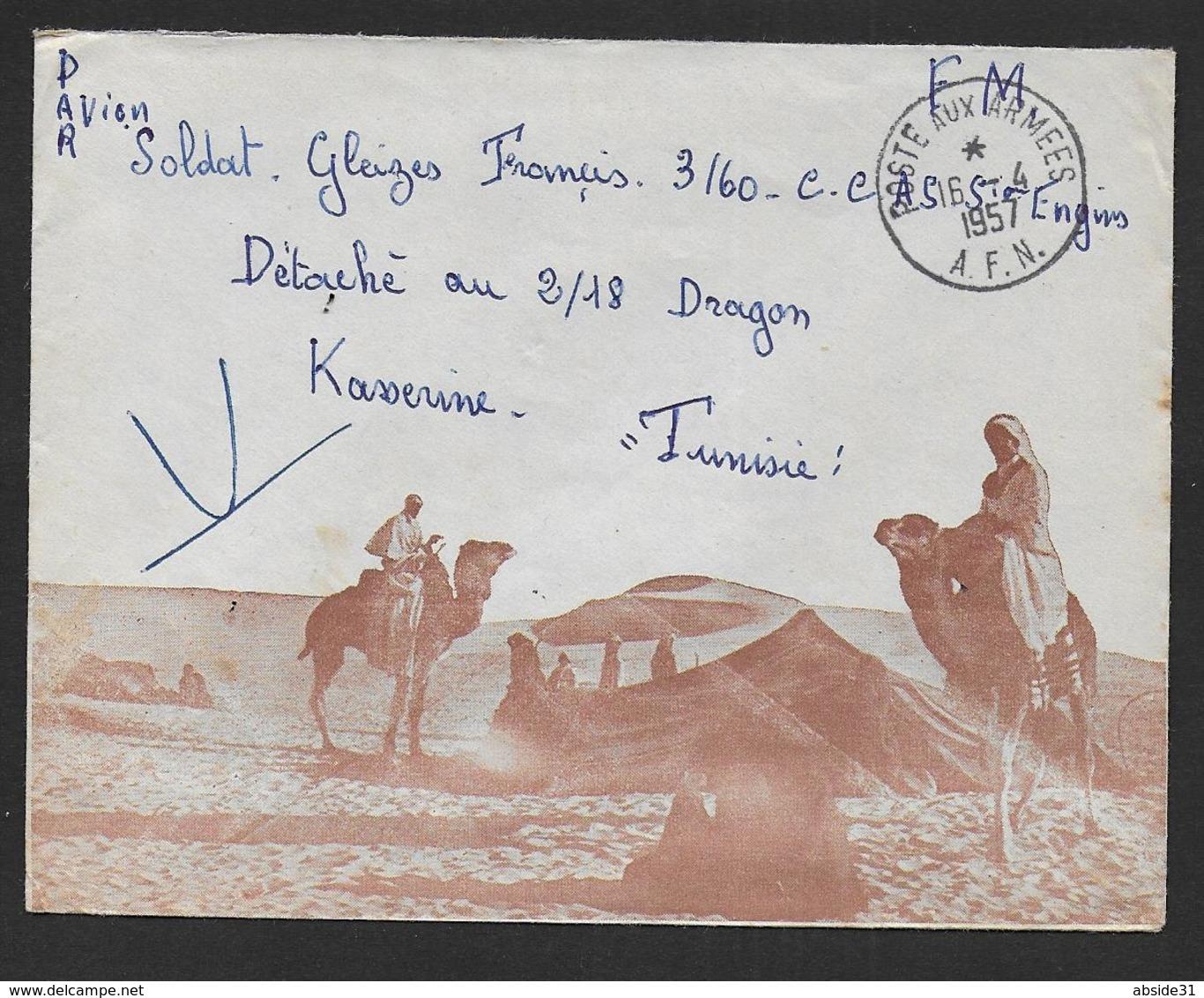 Poste Aux Armées A.F.N. Sur Enveloppe Illustrée - Postmark Collection (Covers)