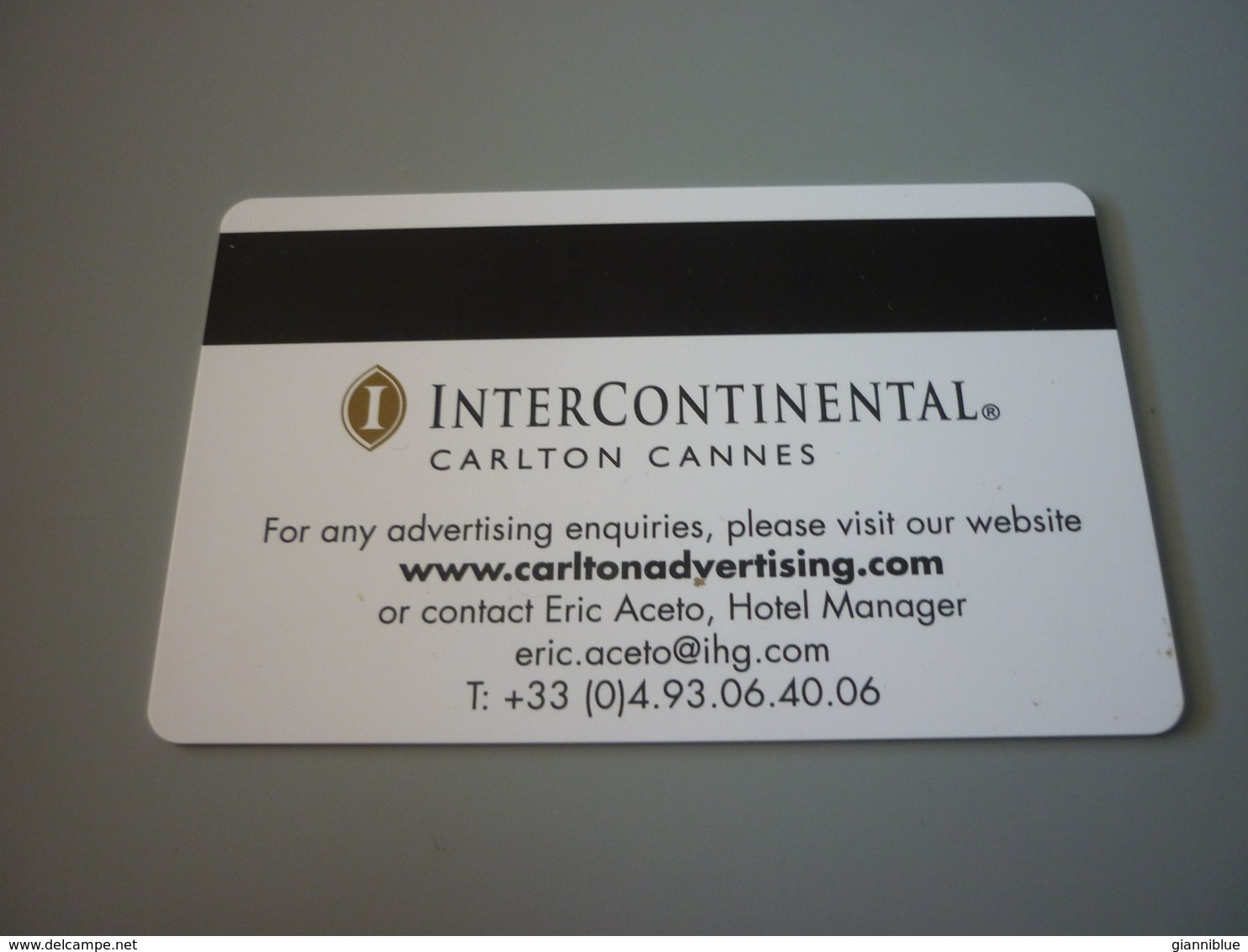 Cannes Intercontinental Carlton Hotel Room Key Card (Vertu Mobile Phone) - Cartes D'hotel
