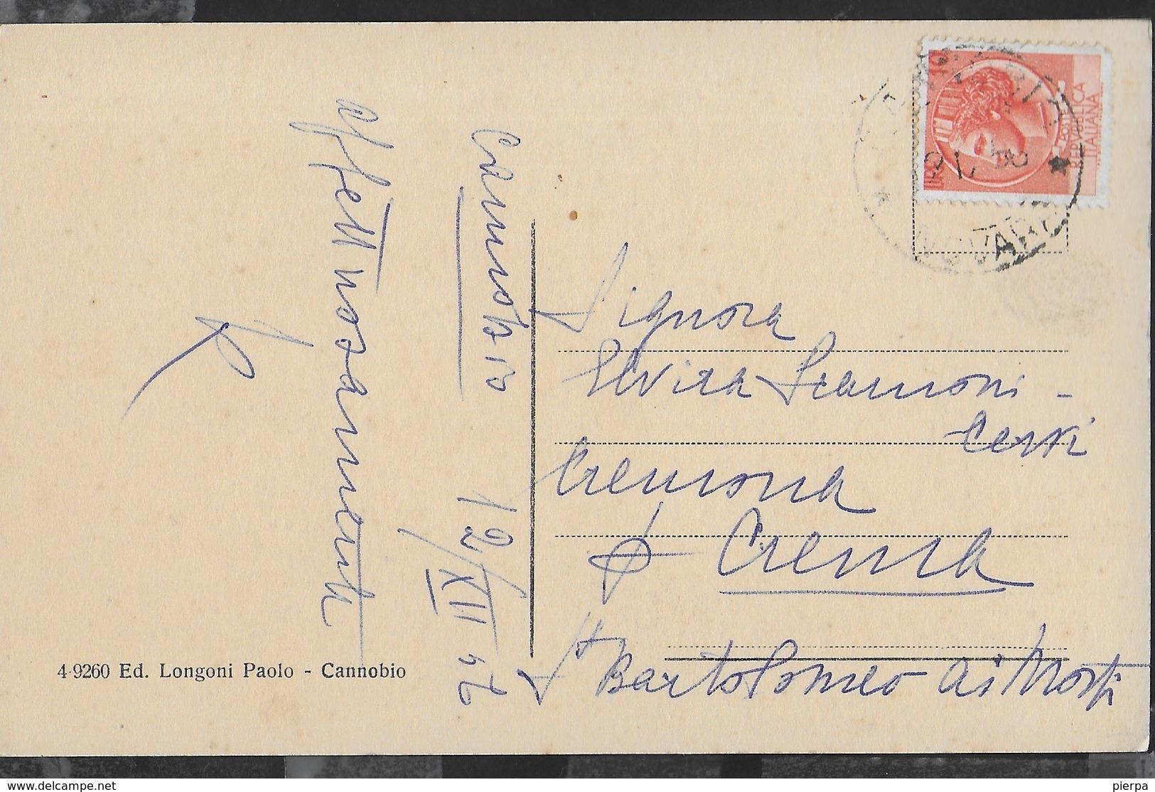 PIEMONTE - CANNOBIO - CHIESA DI S.GOTTARDO - FORMATO PICCOLO - VIAGGIATA 1957 - Autres Villes