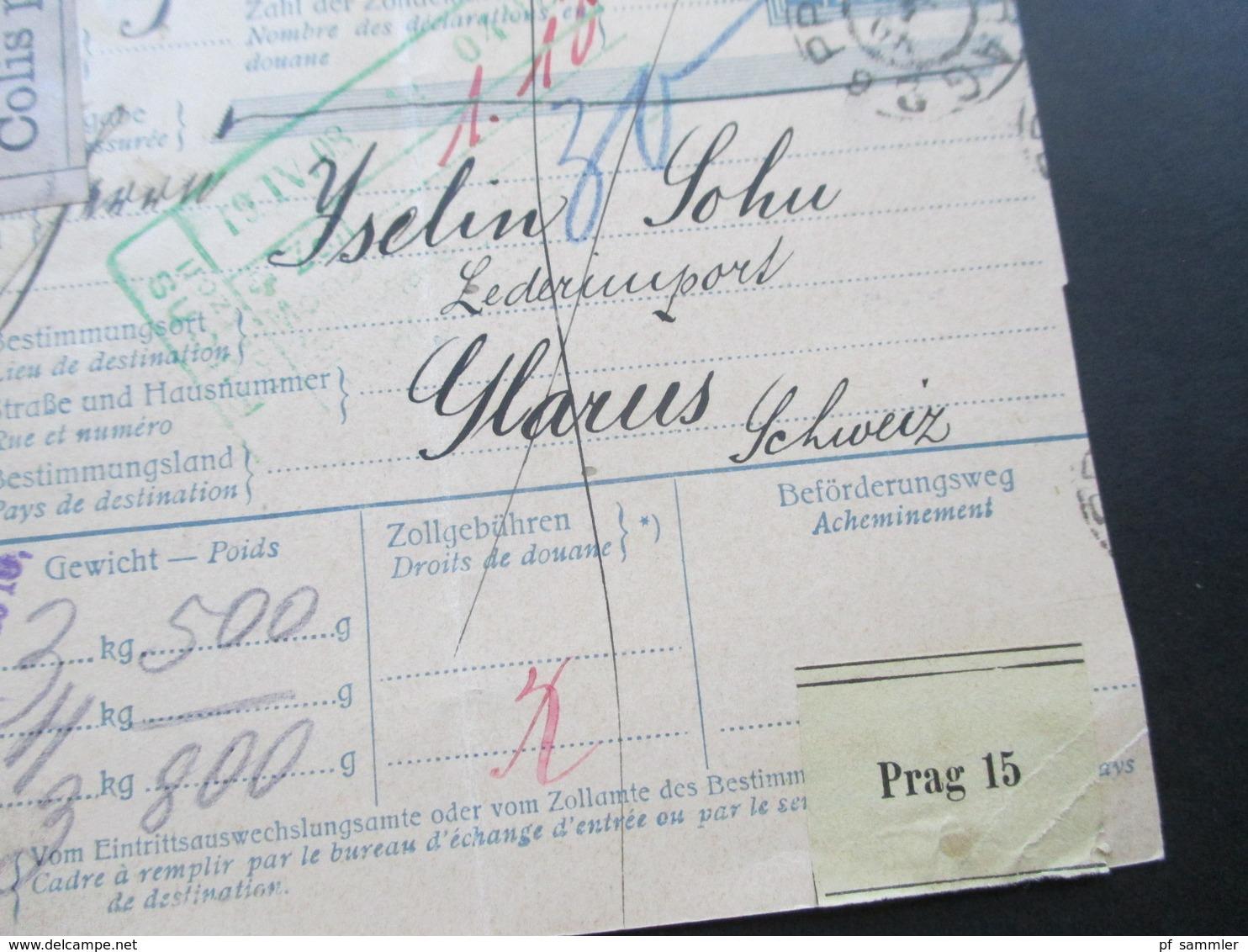 Österreich 1908 Post - Begleitadresse / Colis Postal Prag 2  Nach Glarus Schweiz Mit Grünem Zollstempel! 3 Pakete!! - 1850-1918 Imperium