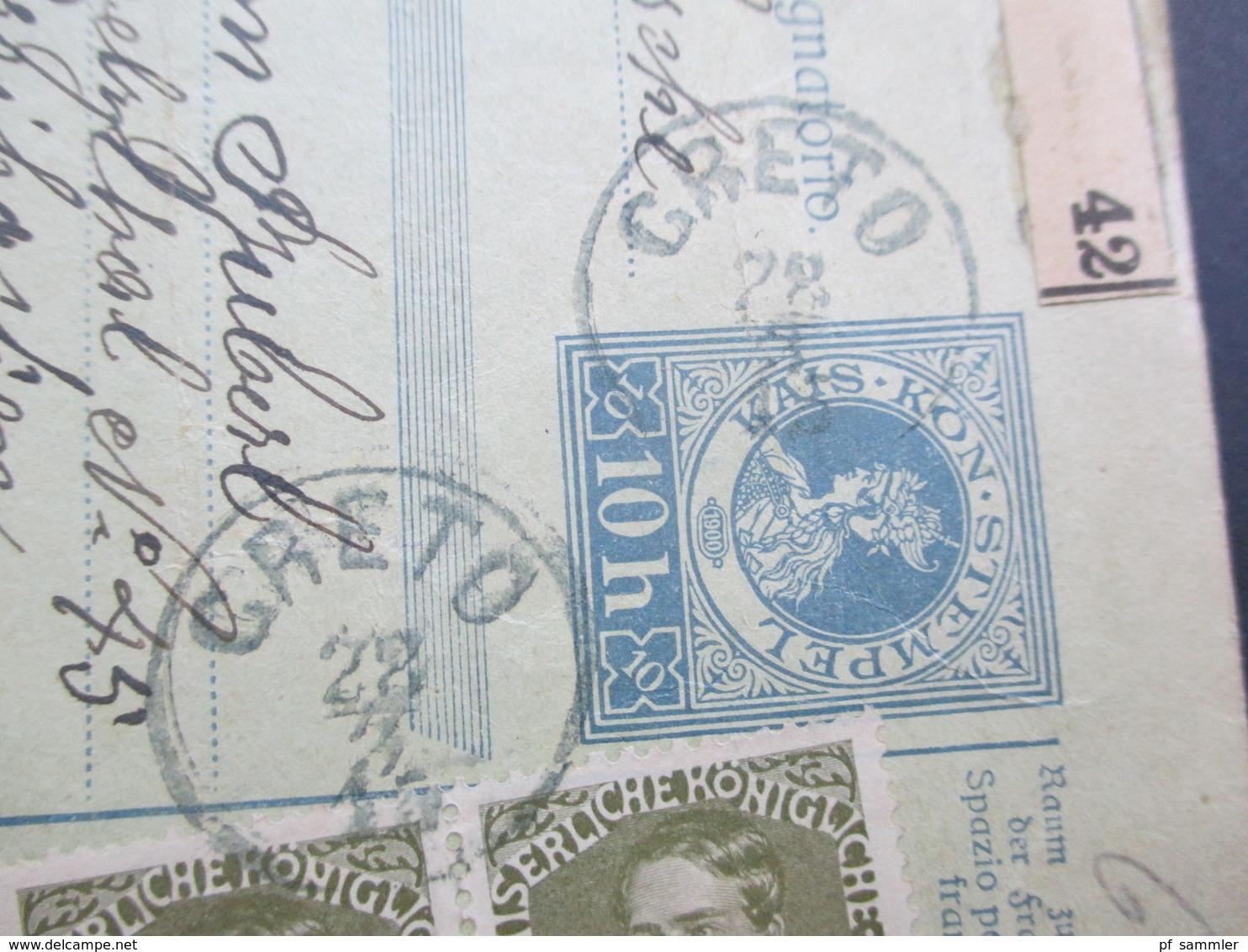 Österreich 1915 Post - Begleitadresse Creto 42 Mit 2 Zusatzfrankaturen Nr. 148 Int. Karte Rückseitig Nachporto Marke!! - Briefe U. Dokumente