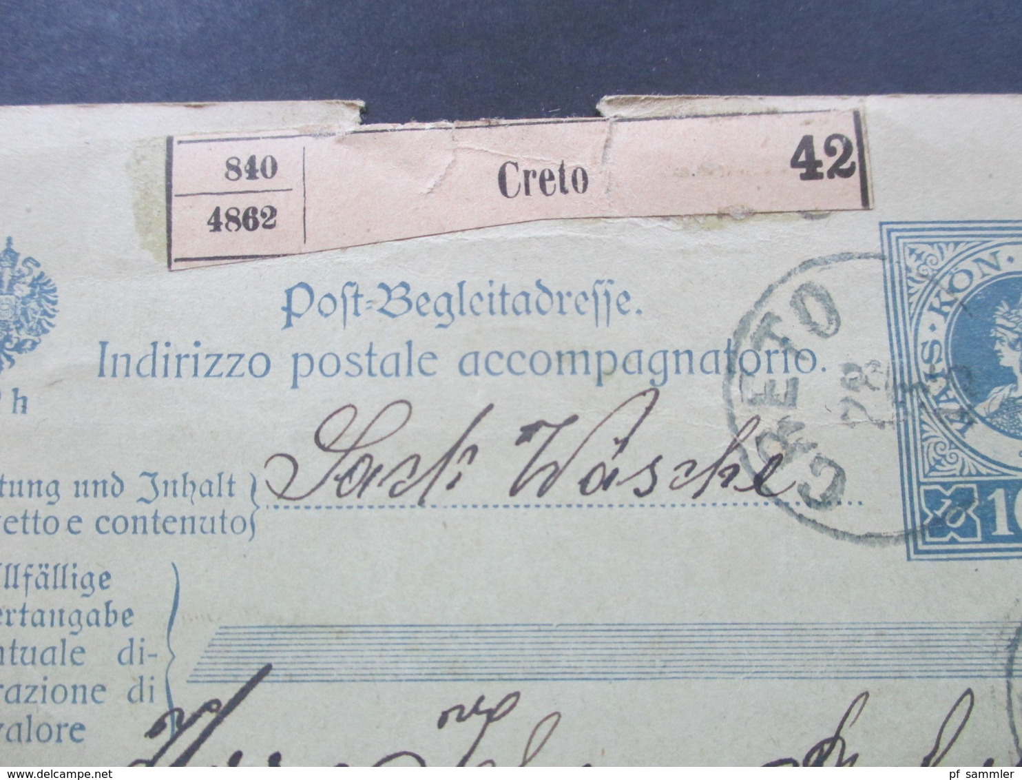 Österreich 1915 Post - Begleitadresse Creto 42 Mit 2 Zusatzfrankaturen Nr. 148 Int. Karte Rückseitig Nachporto Marke!! - 1850-1918 Imperium