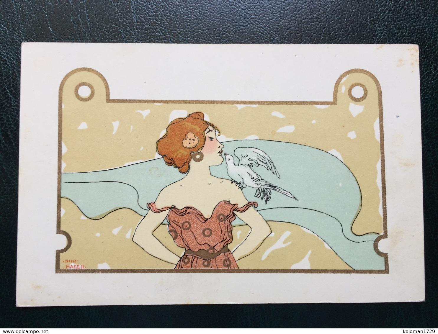 Art Nouveau - Raphael Kirchner Sign. Nini Hager - Girls With Animals - Rif. L.1 - 3 - Kirchner, Raphael