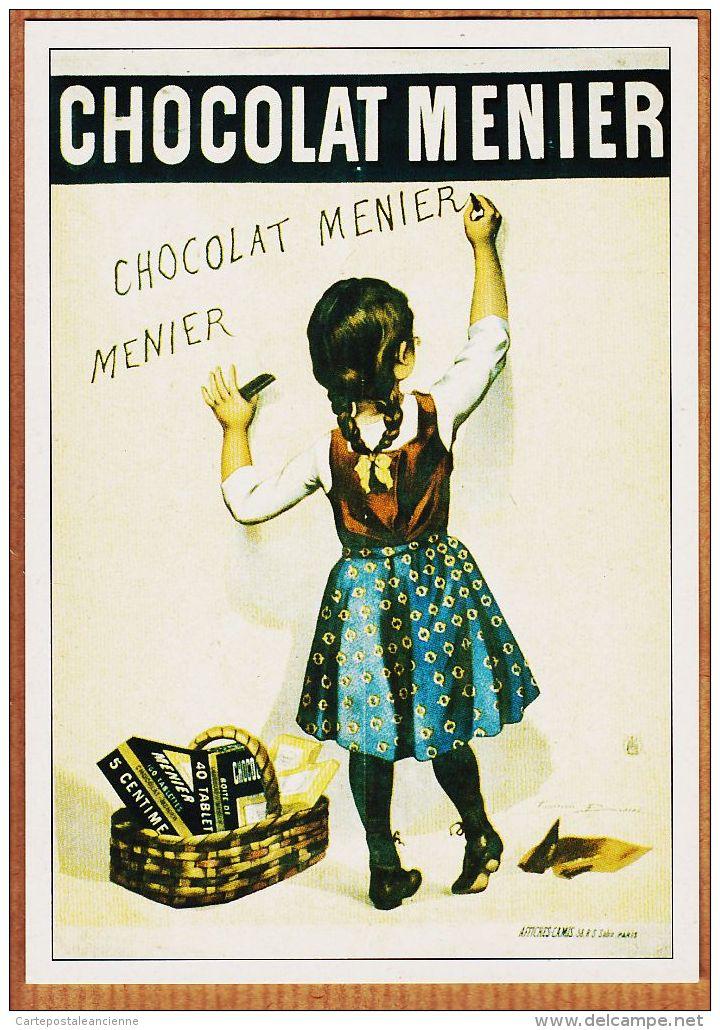 Cppub 178 Affiche Firmin BOUISSET 1895 Chocolat MENIER Eviter Les Contrefaçons Petite Taggeuse REPRODUCTION ATLAS 1992 - Publicité