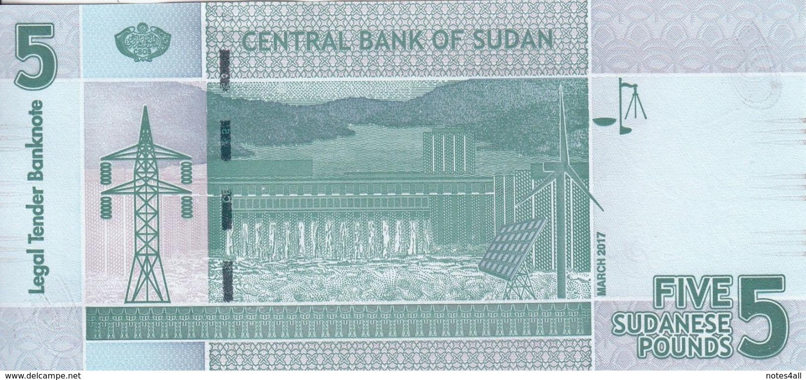 SUDAN 5 POUNDS March 2017 P-72 UNC */* - Soudan
