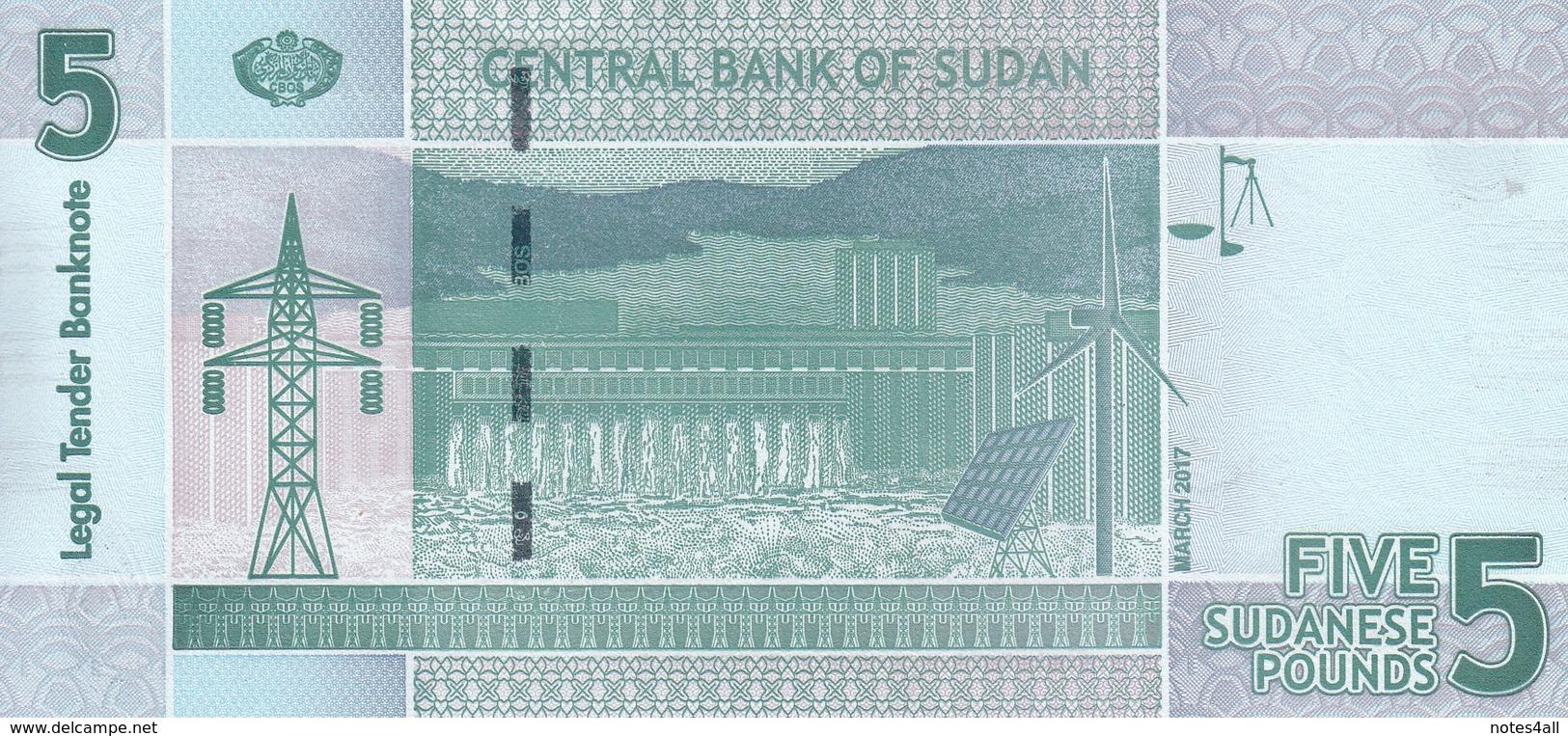SUDAN 5 POUNDS March 2017 P-72 REPLACEMENT CJ LOT X5 UNC NOTES */* - Soudan
