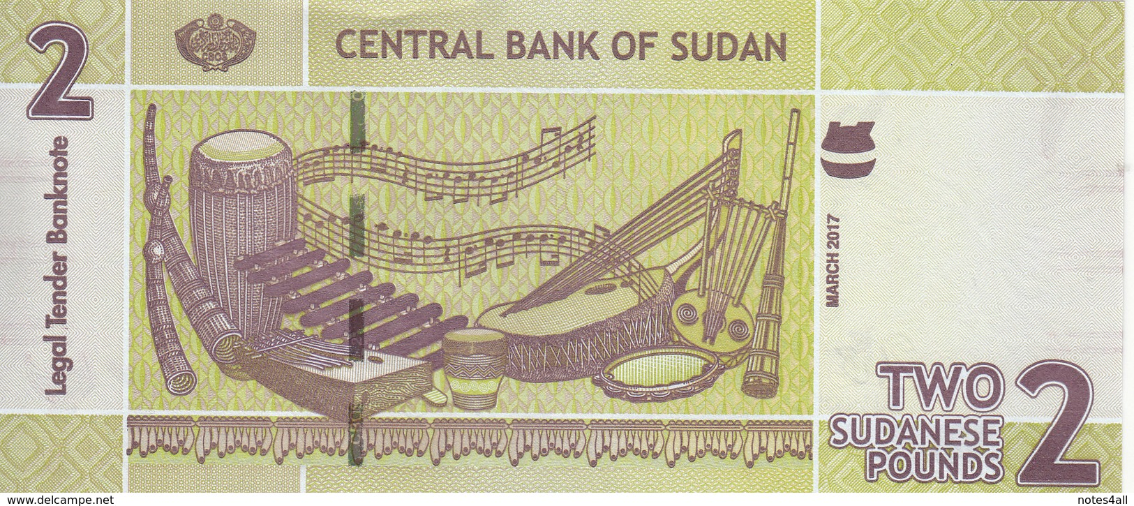 SUDAN 2 POUNDS 2017 P-71 New UNC */* - Soudan