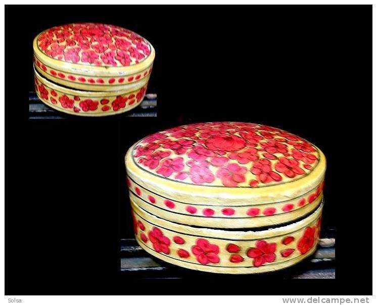 Petite Boîte Indienne Peinte Main / Indian Handmade And Handpainted Woodenbox - Art Populaire