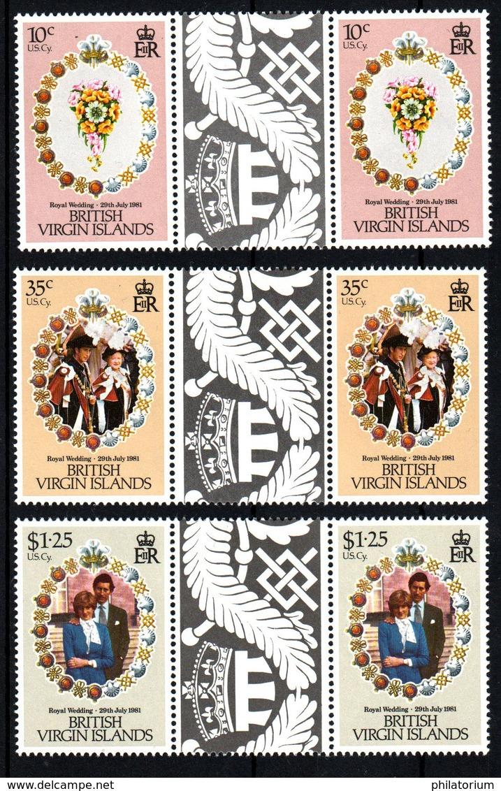 British Virgin Islands Mariage Prince Charles Lady Diana  Neufs Sans Charnière N° Yv 413 /415 Avec Pont - Iles Vièrges Britanniques