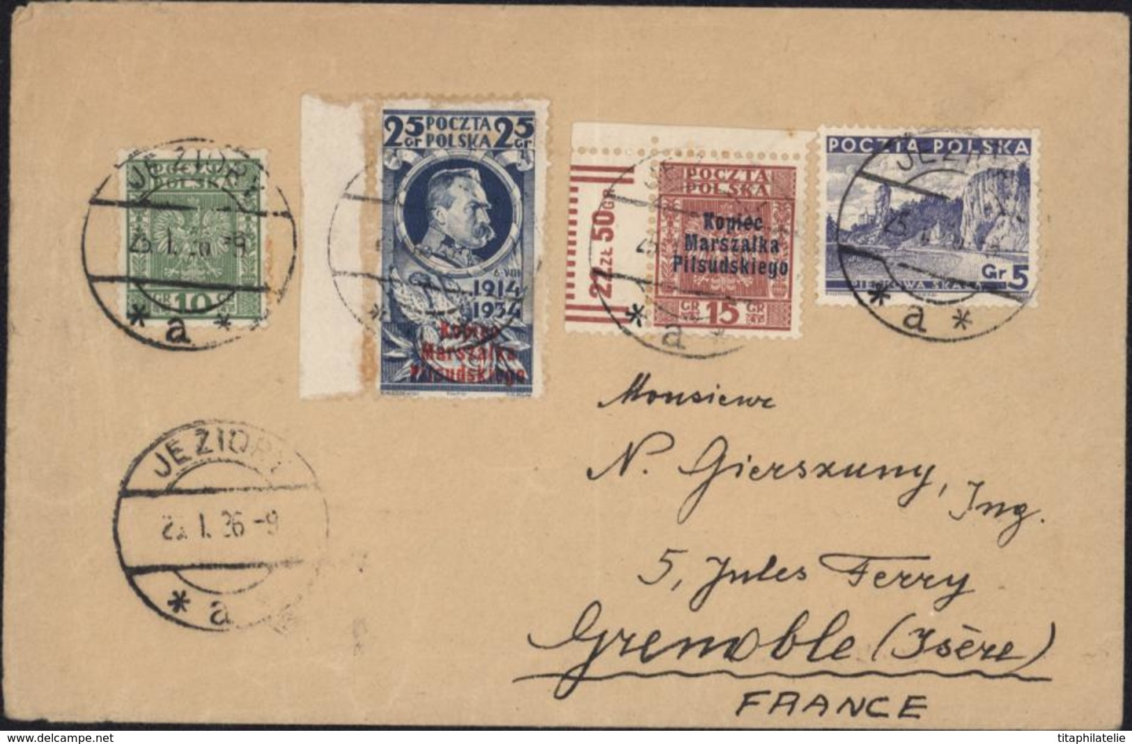 Poczta Polska Monument Józef Piłsudski YT 389 A Et B + YT 357 379 CAD Jeziory 25 1 19369 A Pour Grenoble Arrivée 28 1 36 - 1919-1939 Republic