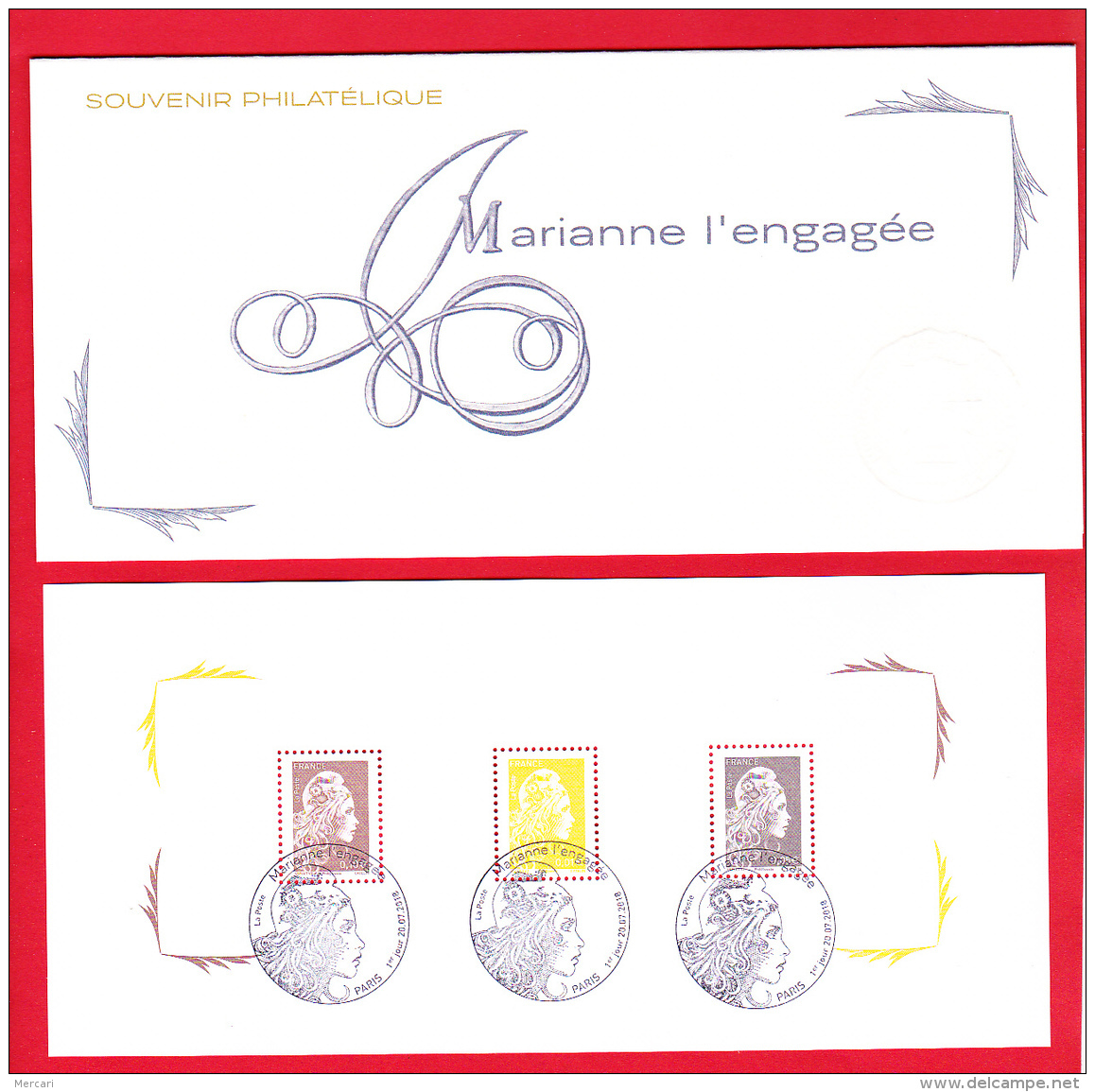 France 2018,  4 Feuillets Réunis Dans Une Carte Souvenir Philatélique  /  Obl 1er Jour  / Marianne L'engagée - Blocs & Feuillets
