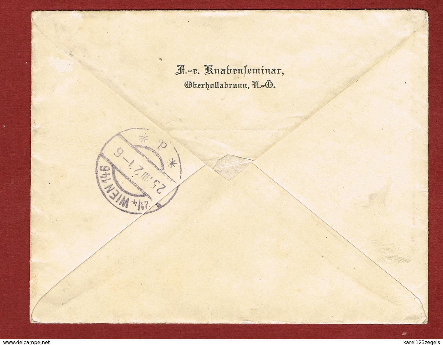 Brief Reco Ober-Hollabrunn - Wien Porto 9 Kronen 1921;  2 Scan - Briefe U. Dokumente