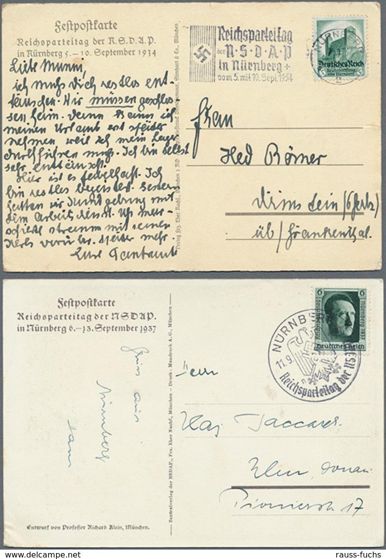 Beleg 1934/37, 2 Verschiedene Reichsparteitagskarten, Echt Gelaufen - Briefmarken