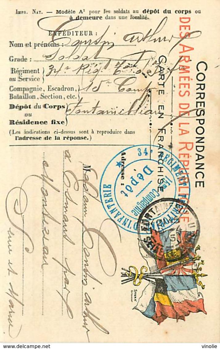 D-18-1389 : CARTE FRANCHISE MILITAIRE  CARTE DRAPEAU. CACHET 34° REGIMENT TERRITORIAL INFANTERIE 15° COMPAGNIE  DEPOT - Marcofilia (sobres)