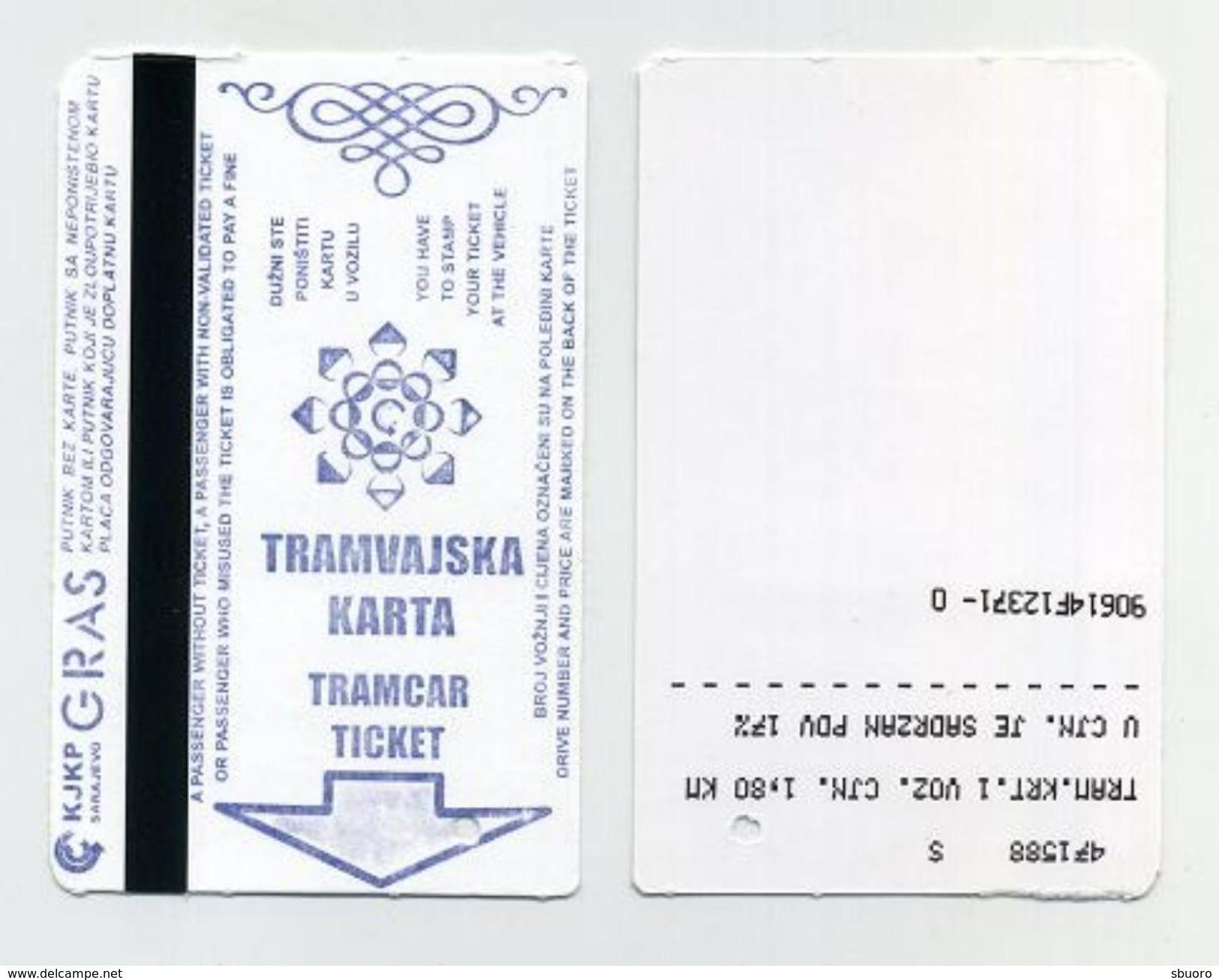 Ticket De Tramway - Sarajevo, Bosnie Herzégovine - Tramways
