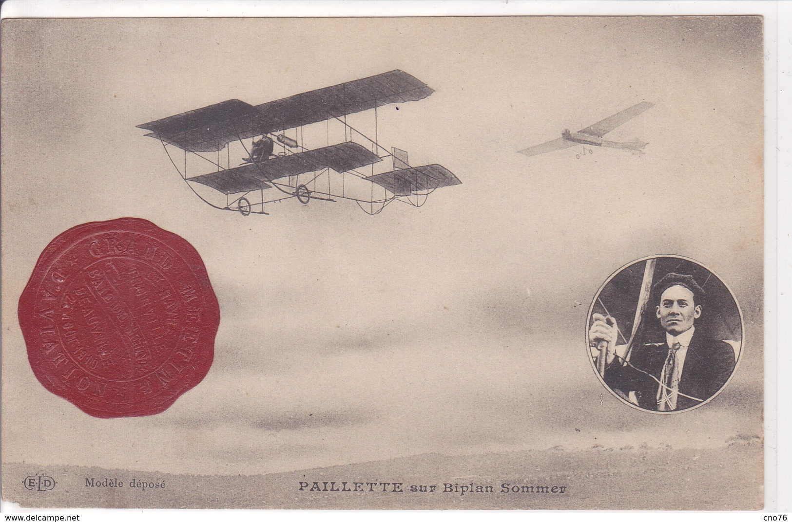 Paillette Sur Biplan Sommer - Cartes Postales